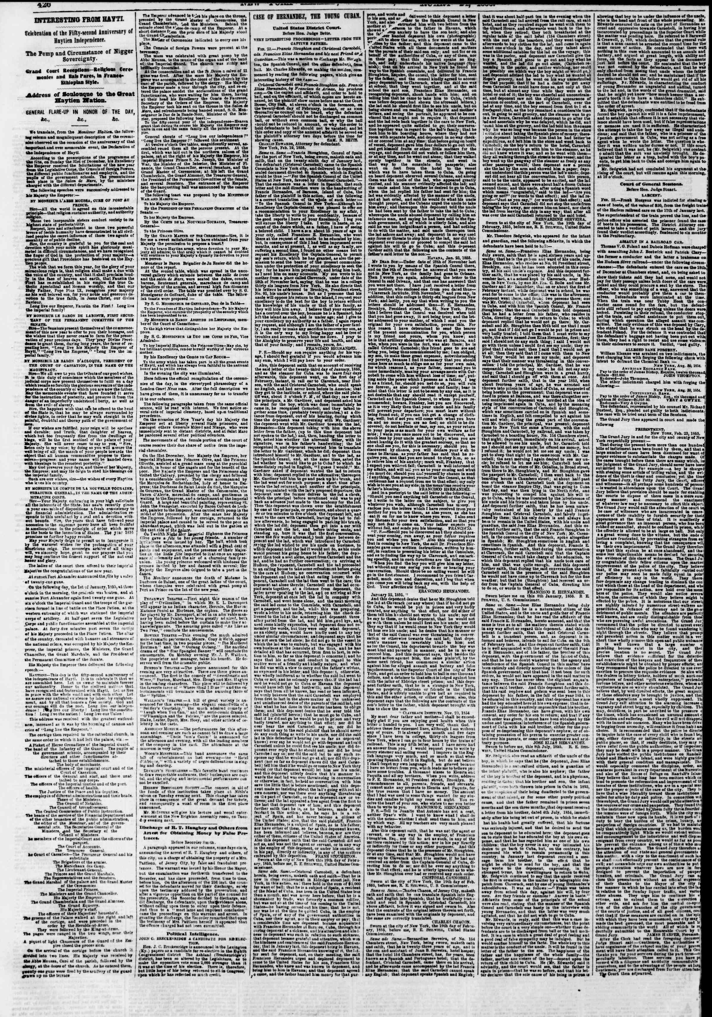 Newspaper of The New York Herald dated February 24, 1855 Page 2