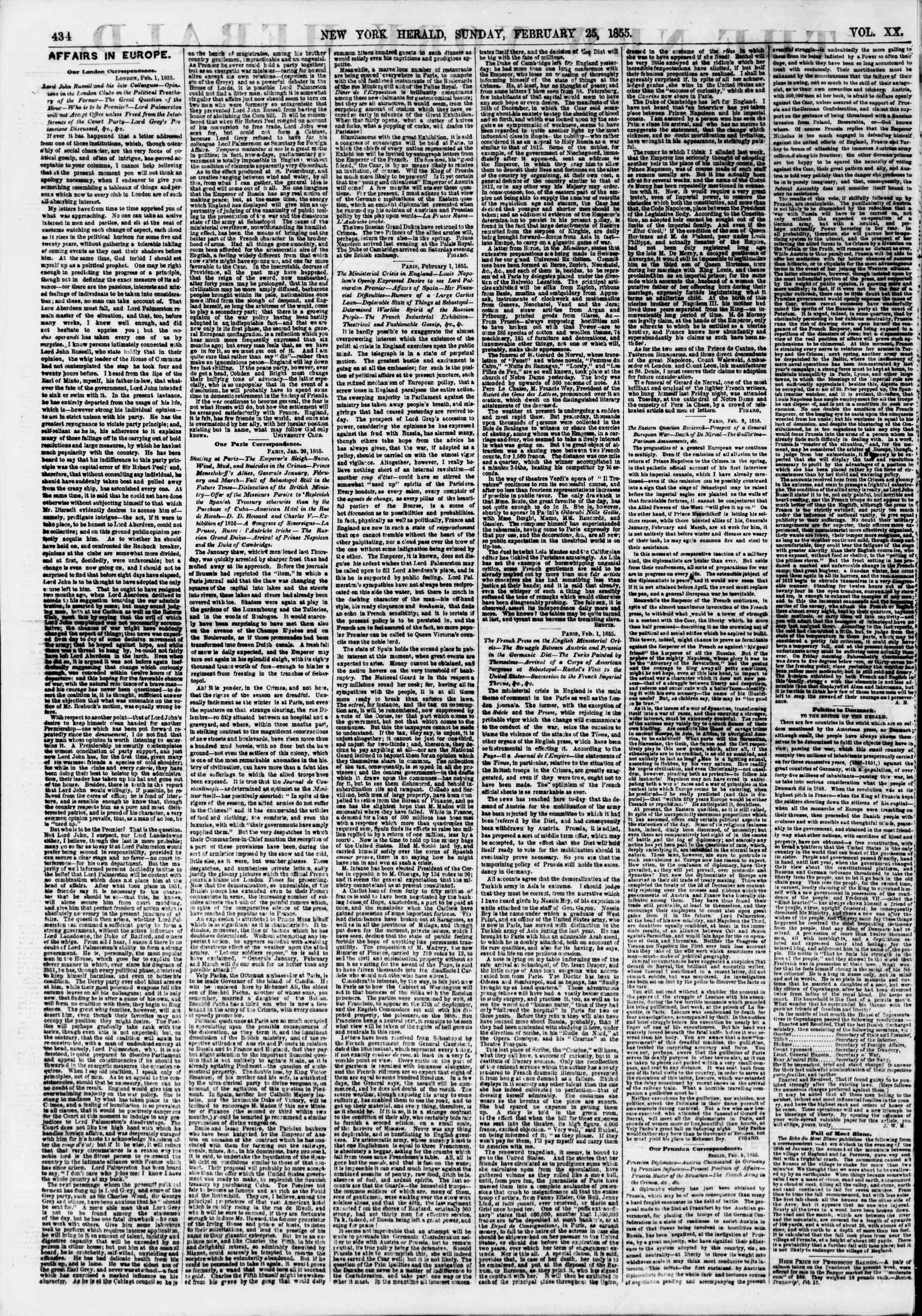 25 Şubat 1855 tarihli The New York Herald Gazetesi Sayfa 2