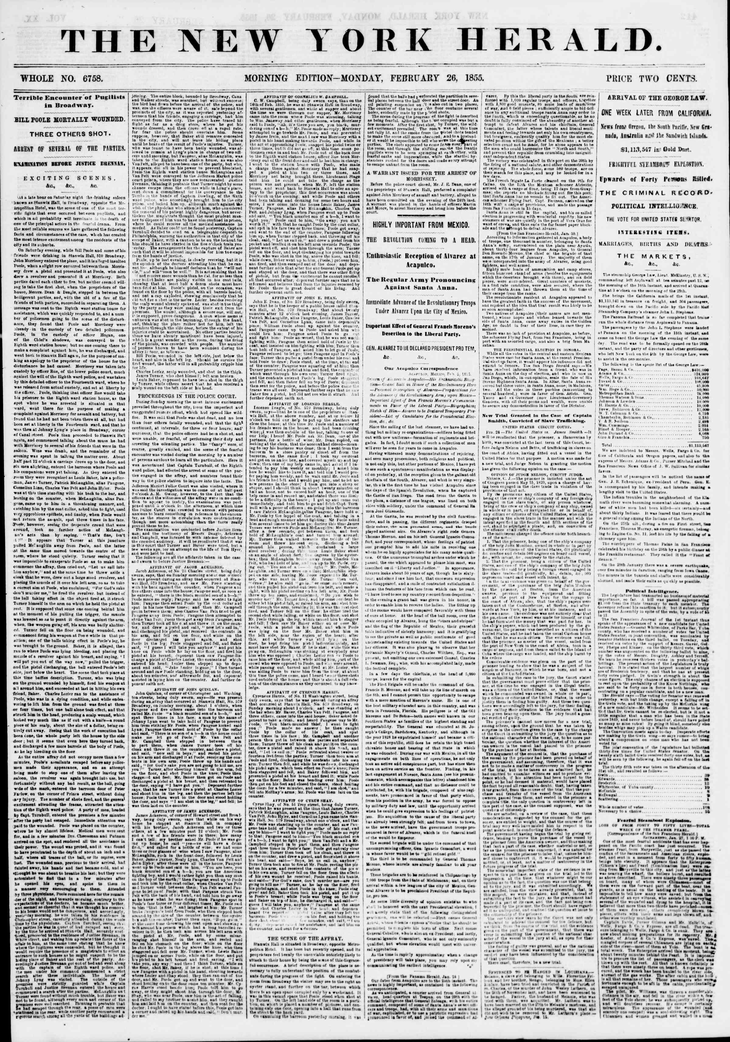 Newspaper of The New York Herald dated February 26, 1855 Page 1