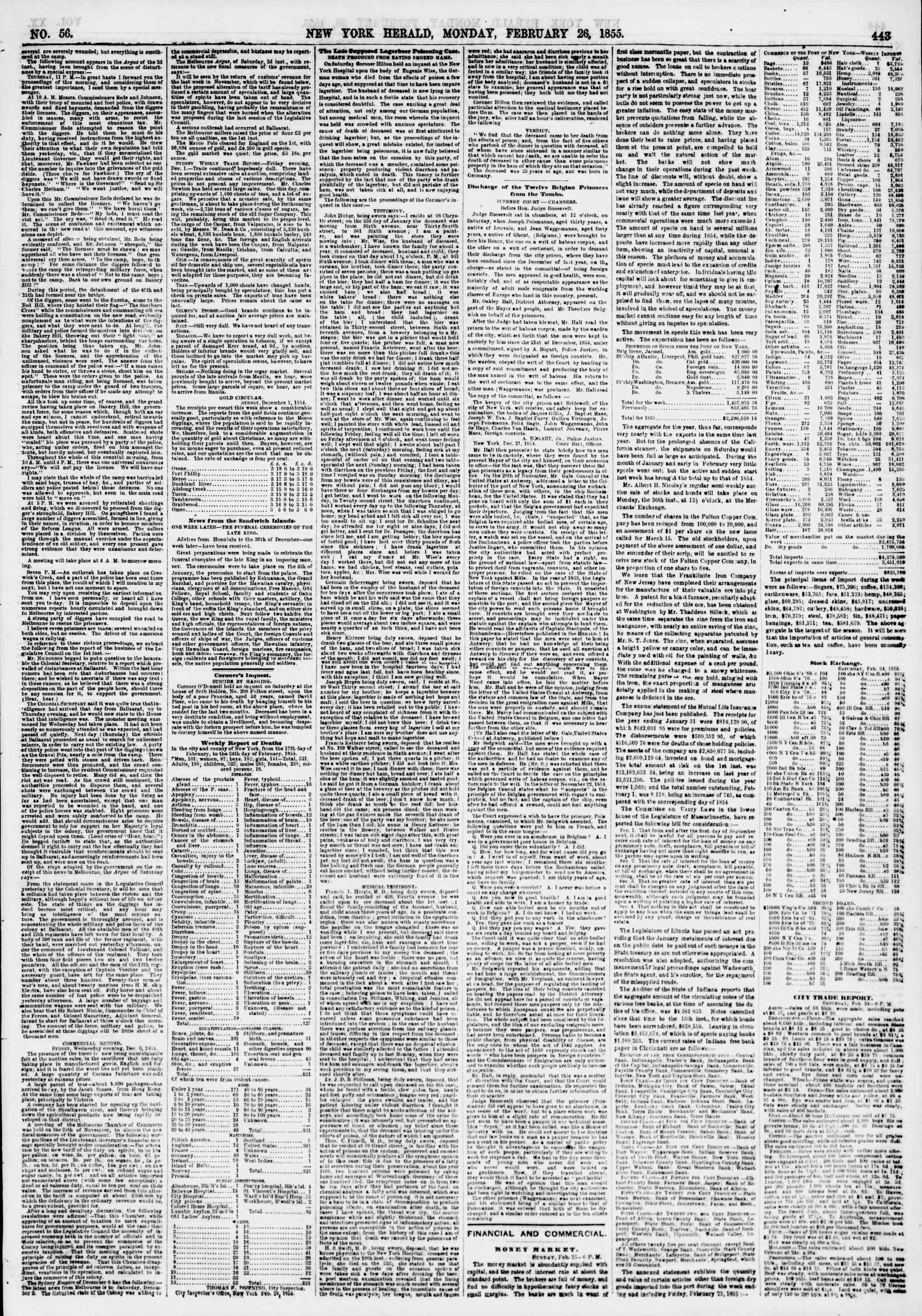 Newspaper of The New York Herald dated February 26, 1855 Page 3