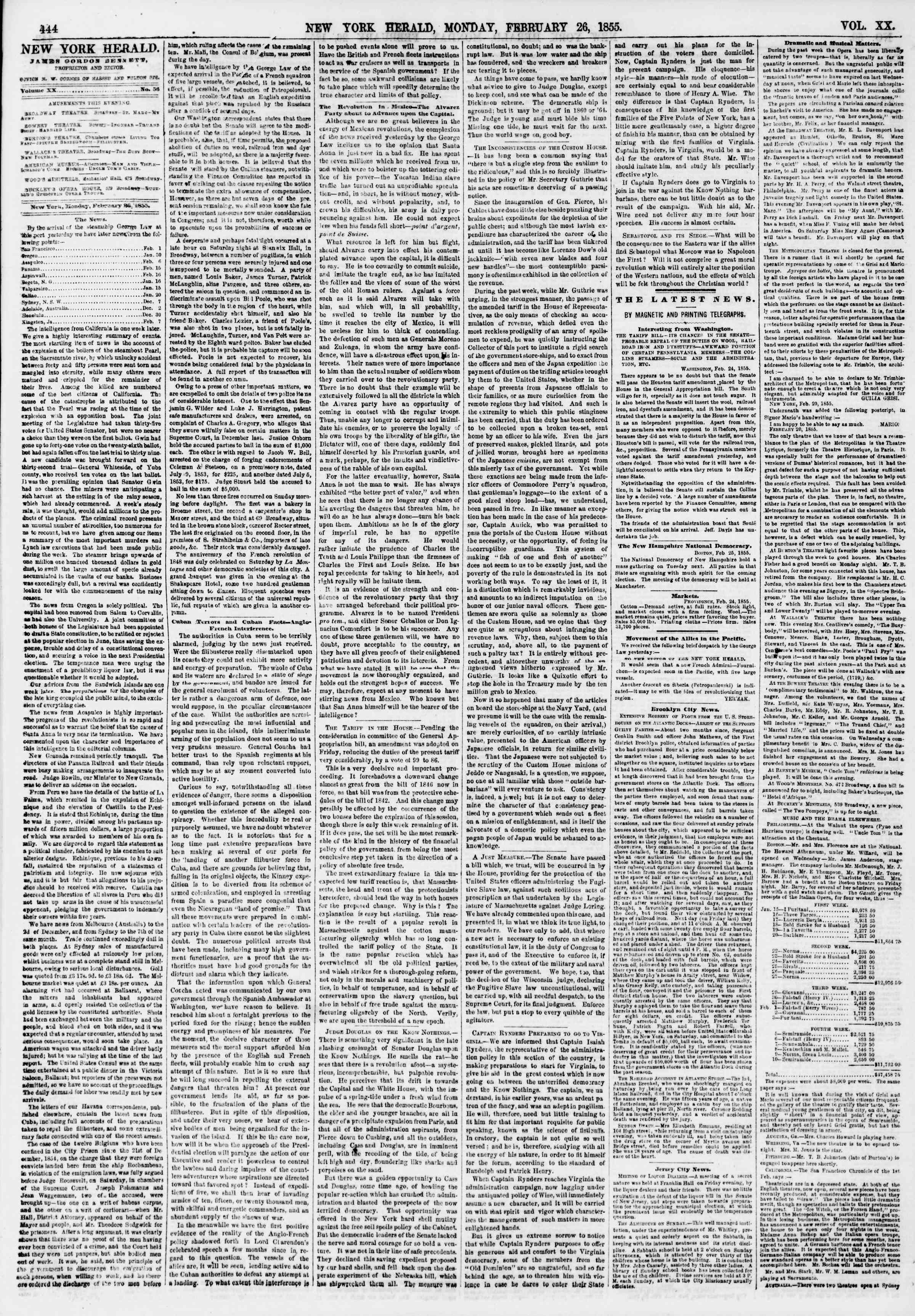 Newspaper of The New York Herald dated February 26, 1855 Page 4
