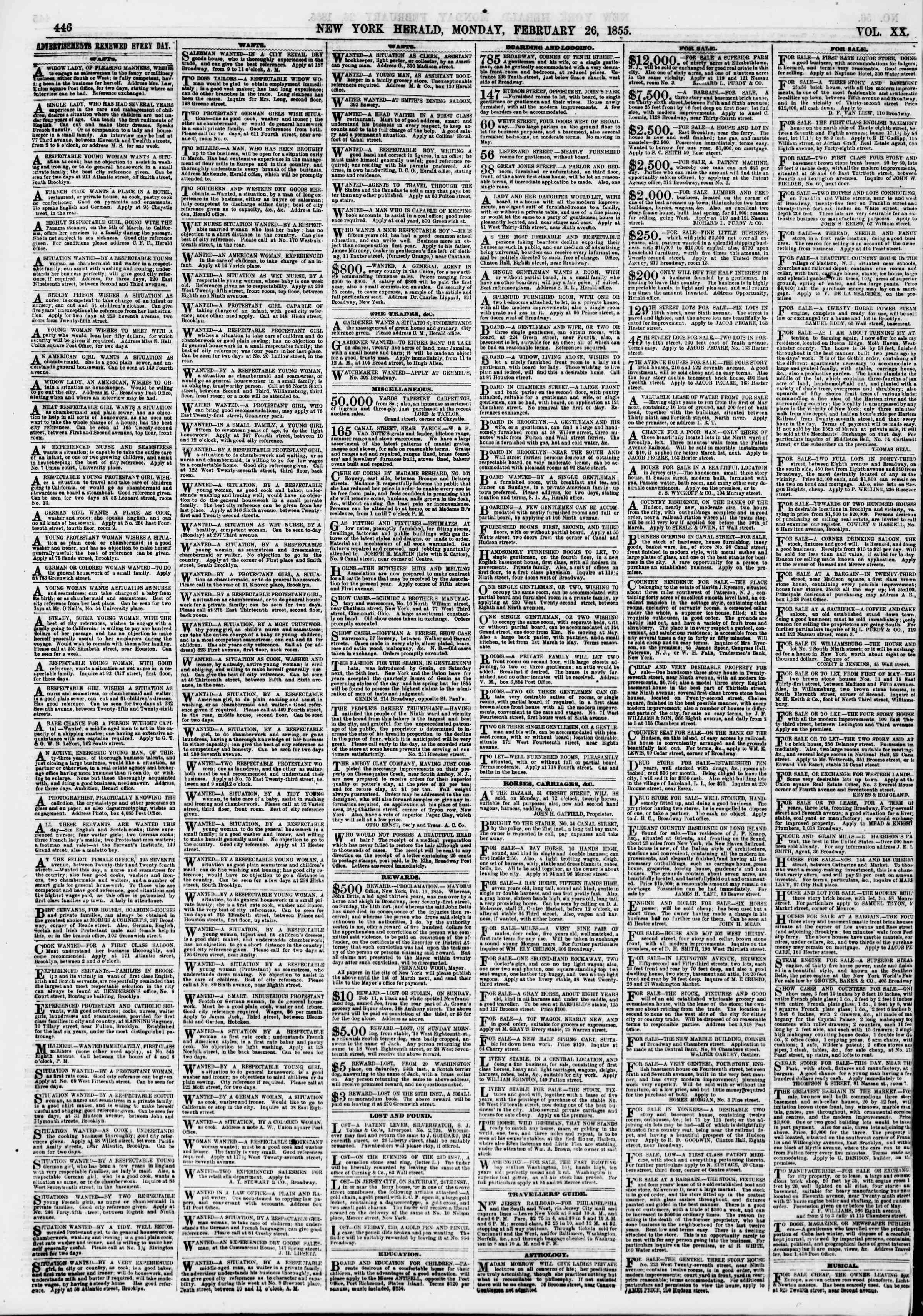 Newspaper of The New York Herald dated February 26, 1855 Page 6