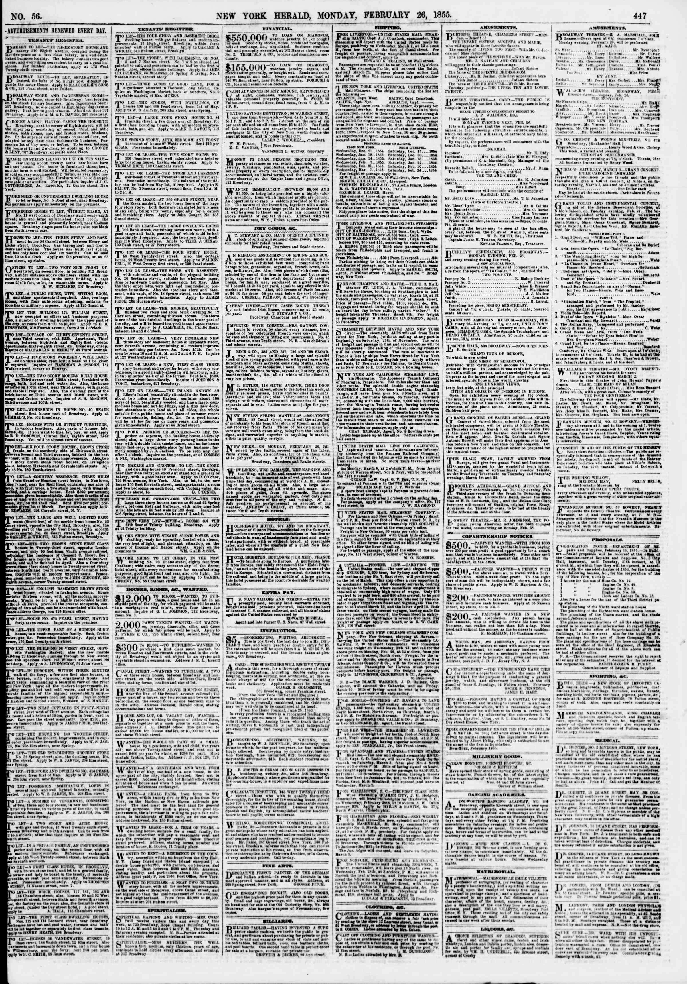 Newspaper of The New York Herald dated February 26, 1855 Page 7