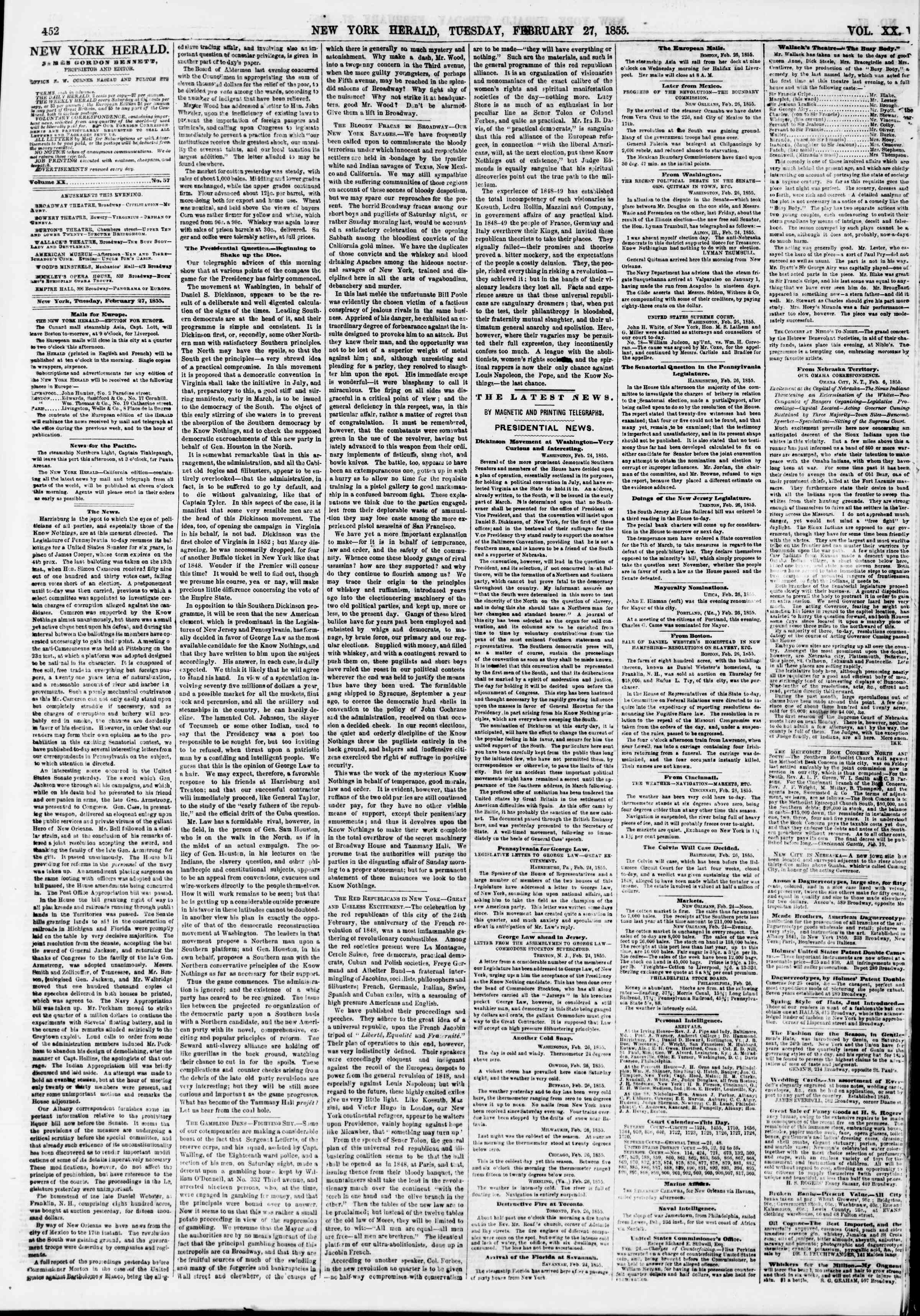 Newspaper of The New York Herald dated February 27, 1855 Page 4