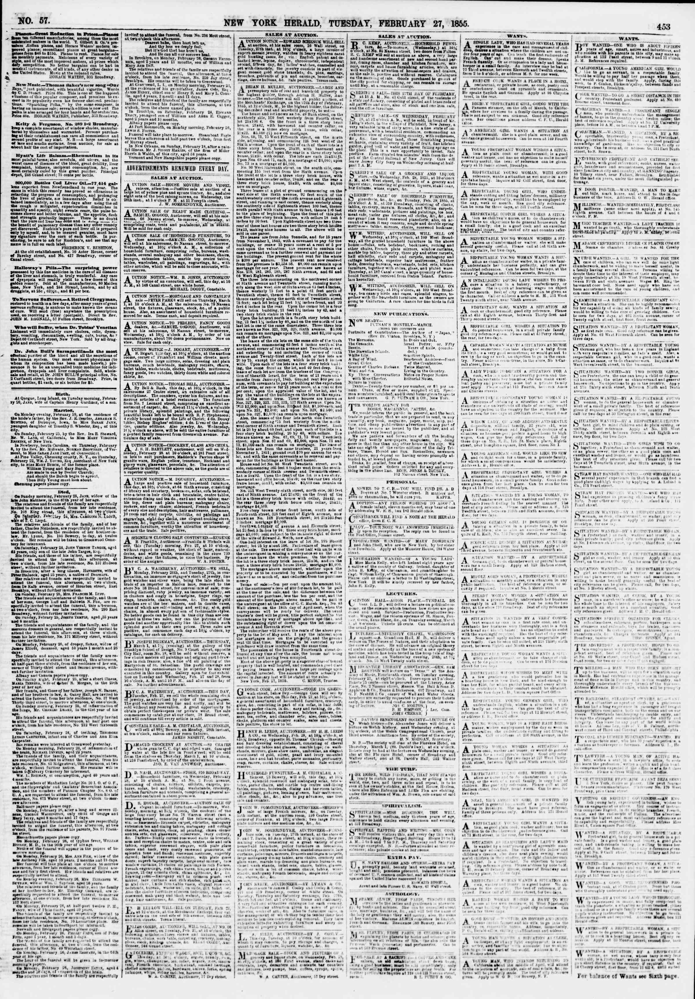 Newspaper of The New York Herald dated February 27, 1855 Page 5