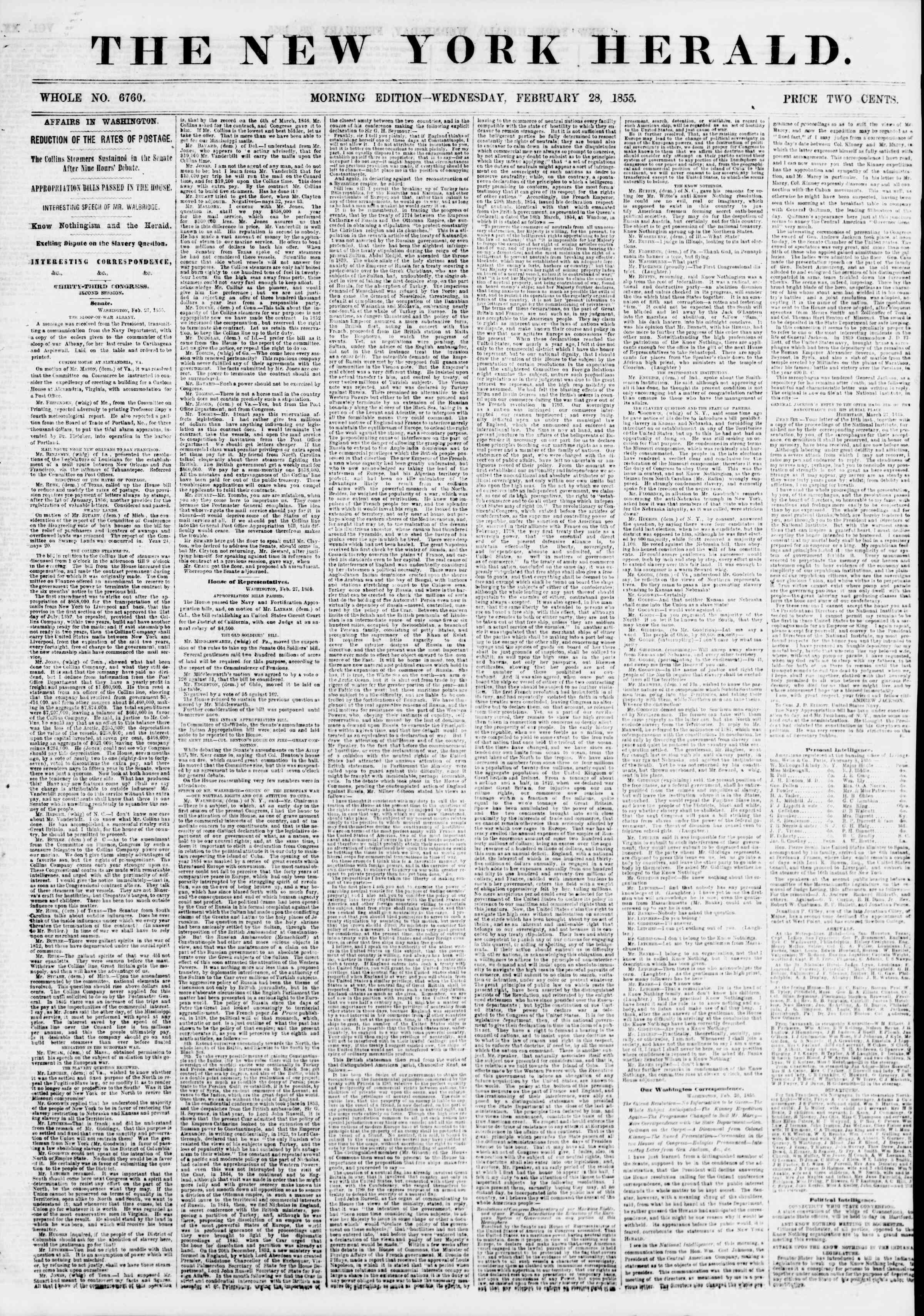Newspaper of The New York Herald dated February 28, 1855 Page 1
