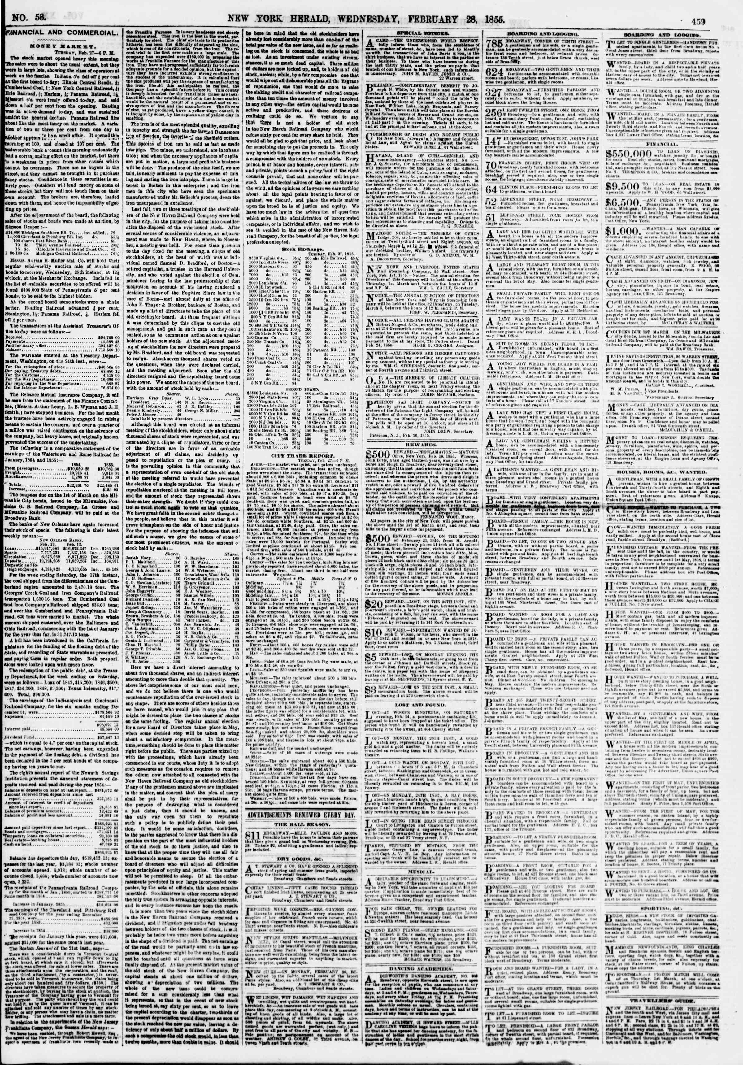 Newspaper of The New York Herald dated February 28, 1855 Page 3