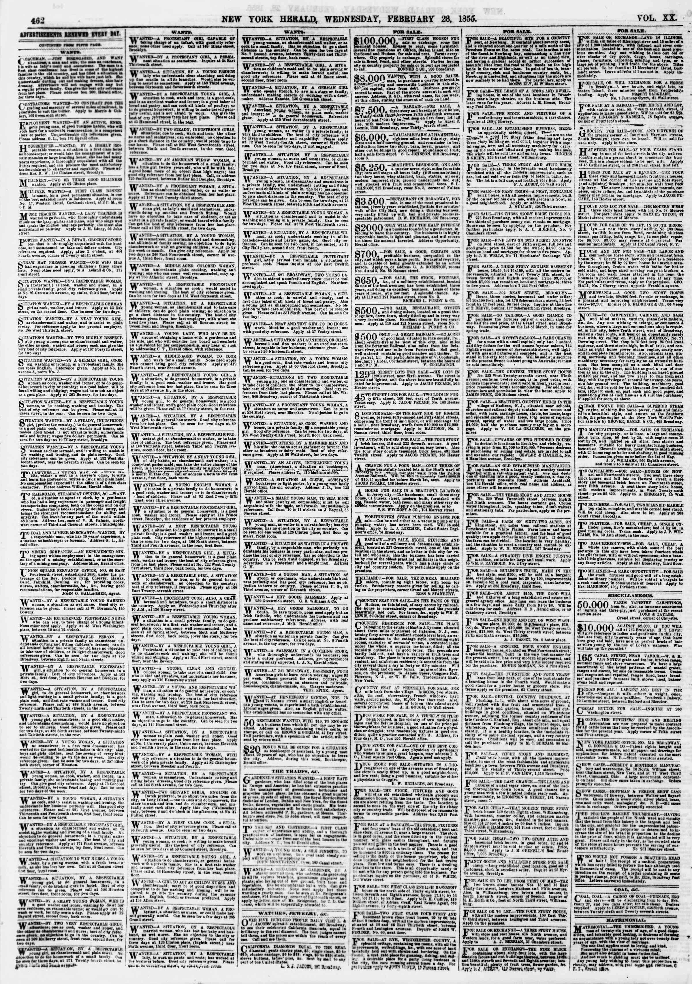 Newspaper of The New York Herald dated February 28, 1855 Page 6