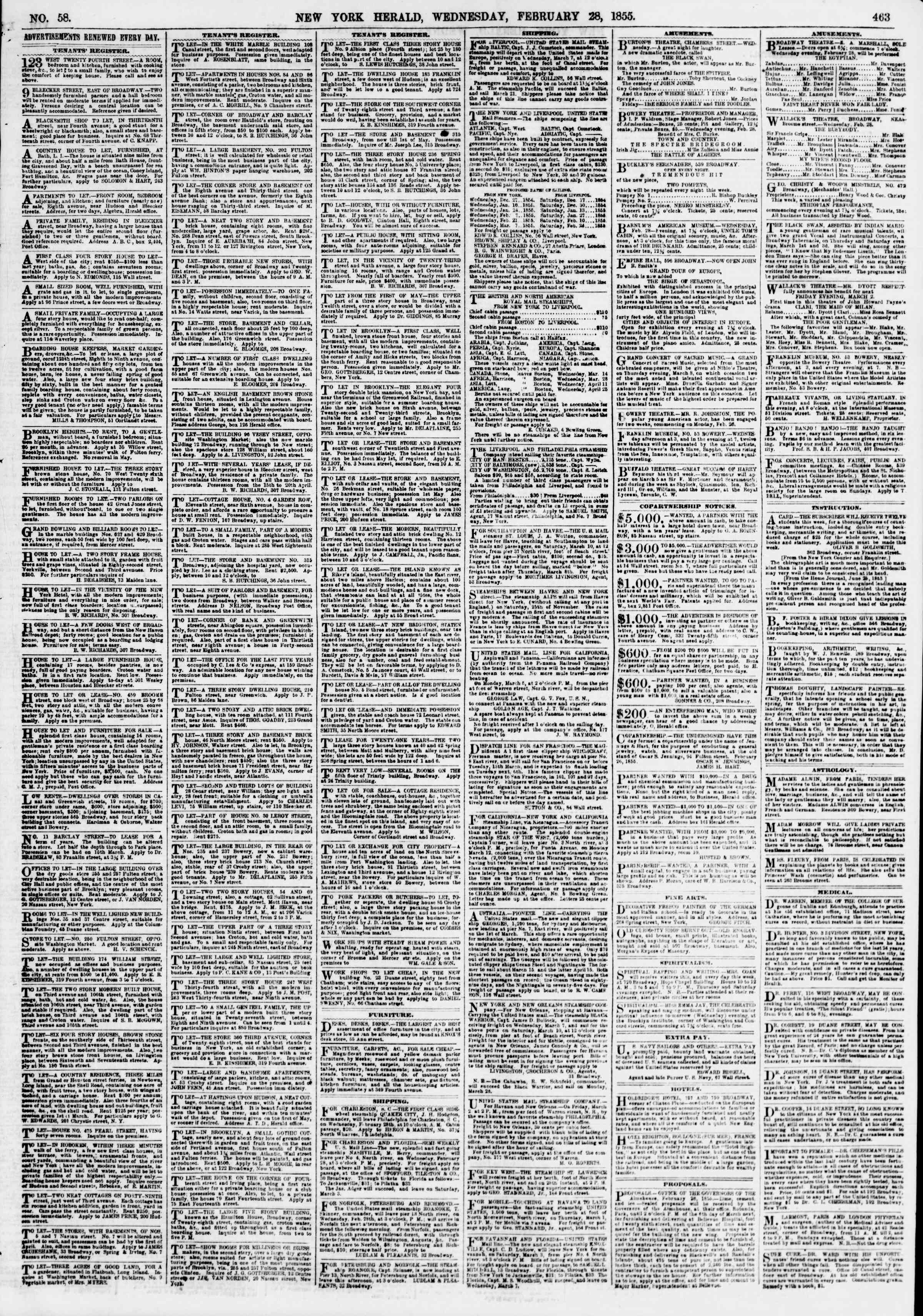 Newspaper of The New York Herald dated February 28, 1855 Page 7