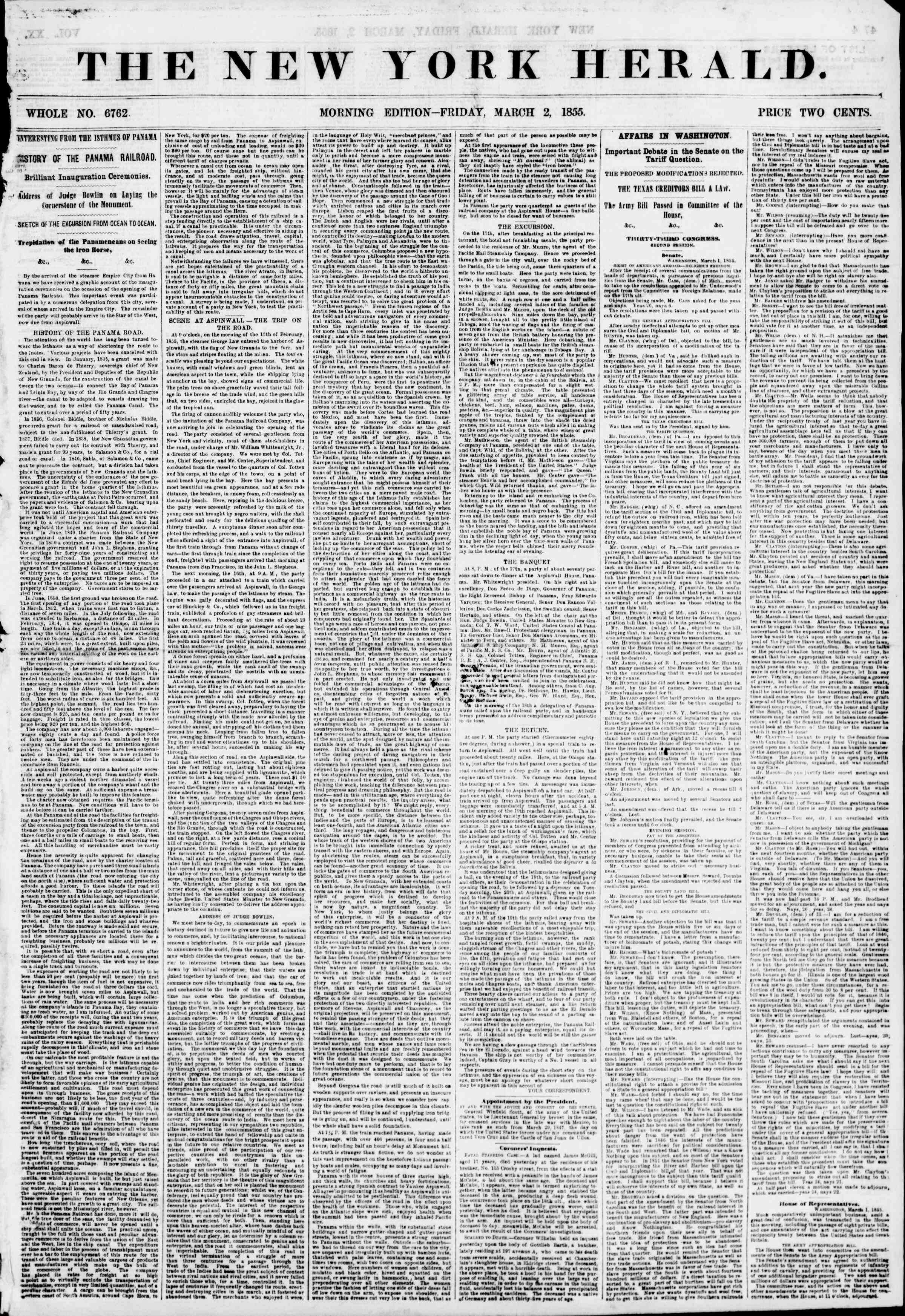 Newspaper of The New York Herald dated March 2, 1855 Page 1