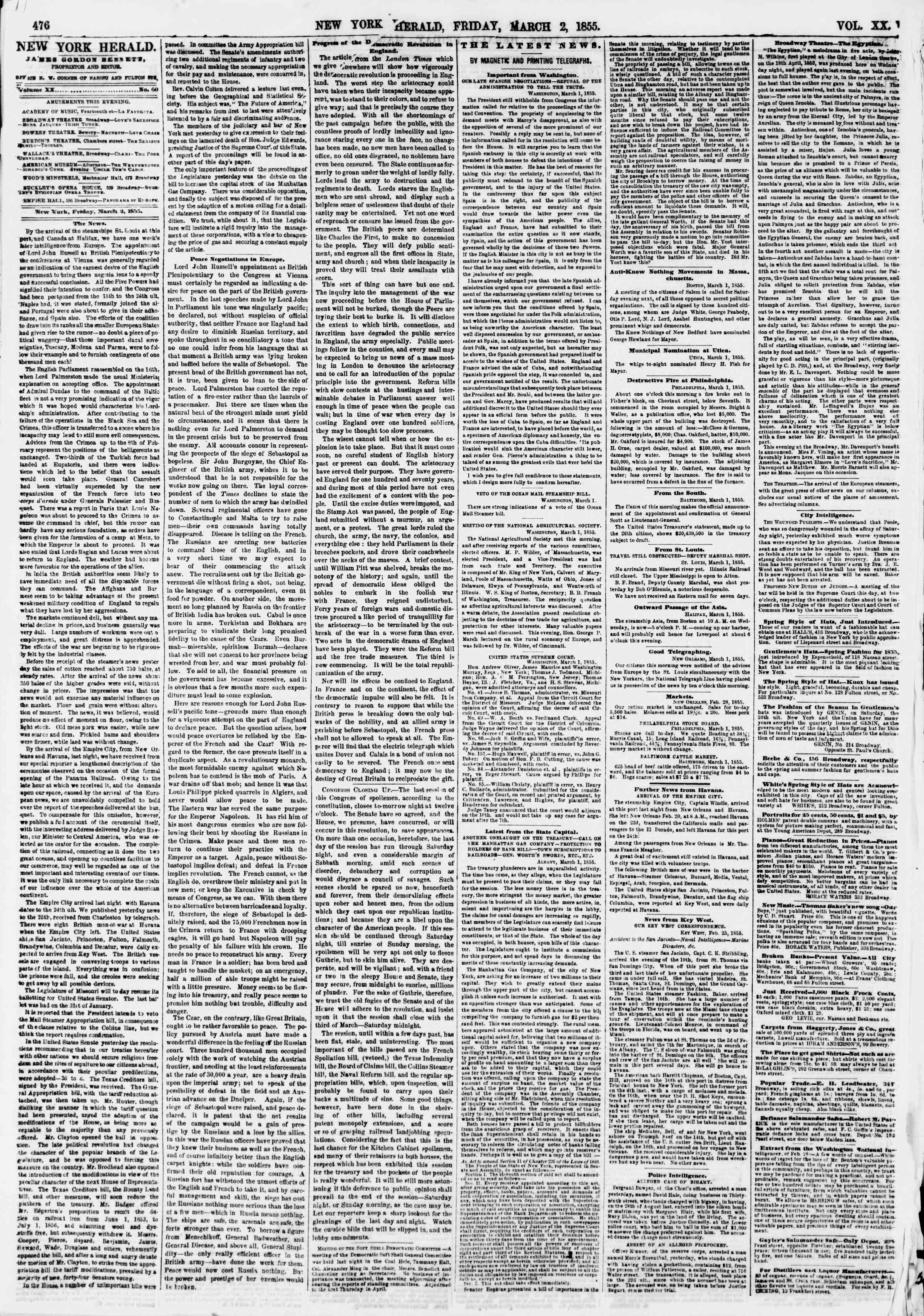 Newspaper of The New York Herald dated March 2, 1855 Page 4