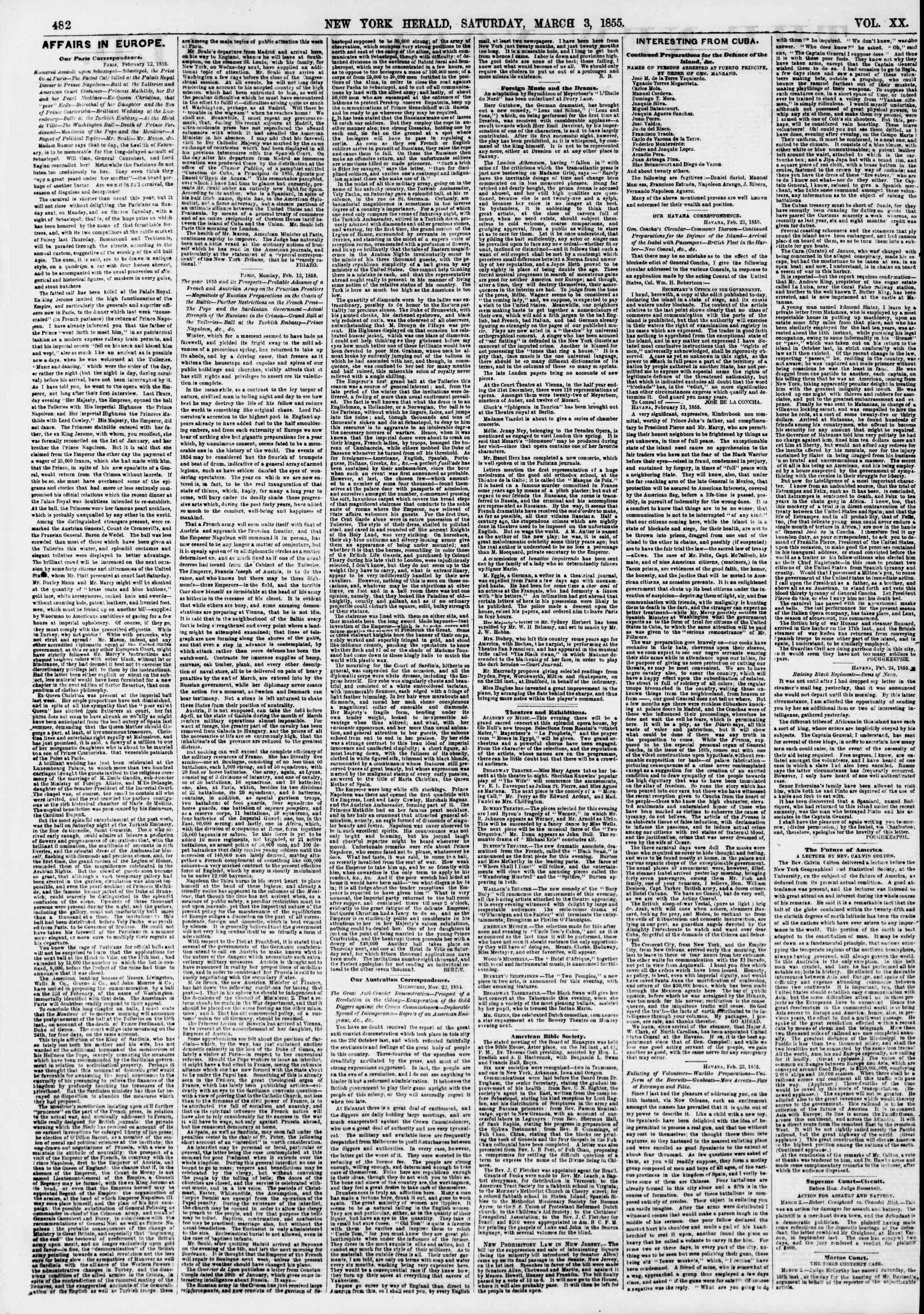 Newspaper of The New York Herald dated March 3, 1855 Page 2