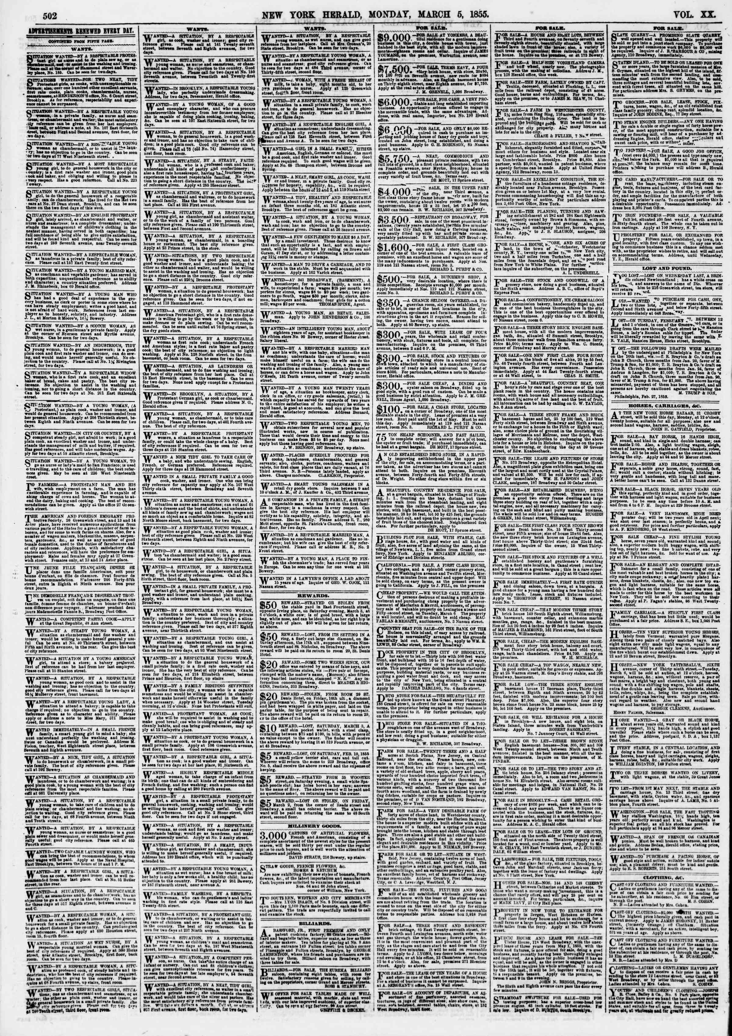 Newspaper of The New York Herald dated March 5, 1855 Page 6