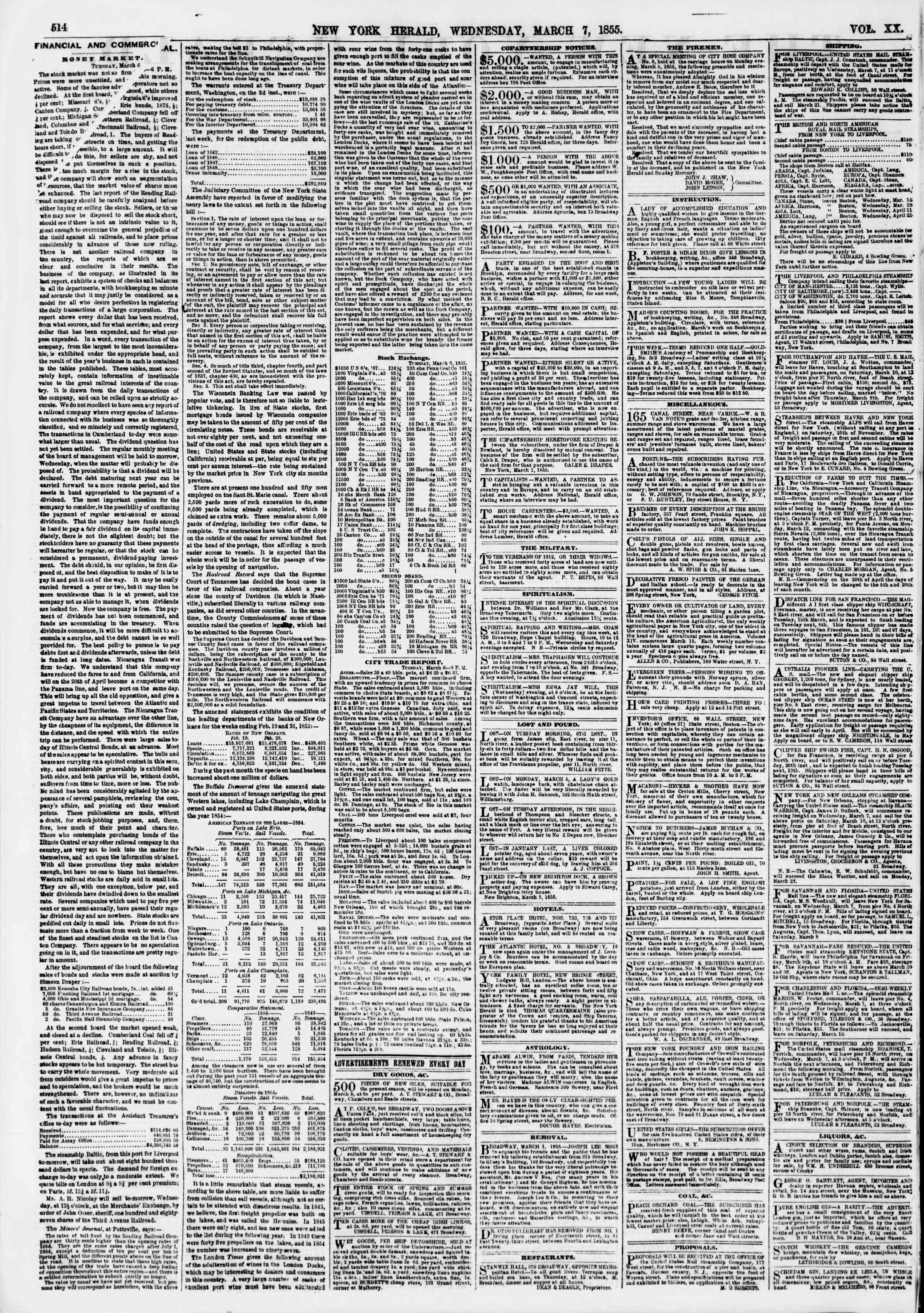 Newspaper of The New York Herald dated March 7, 1855 Page 2