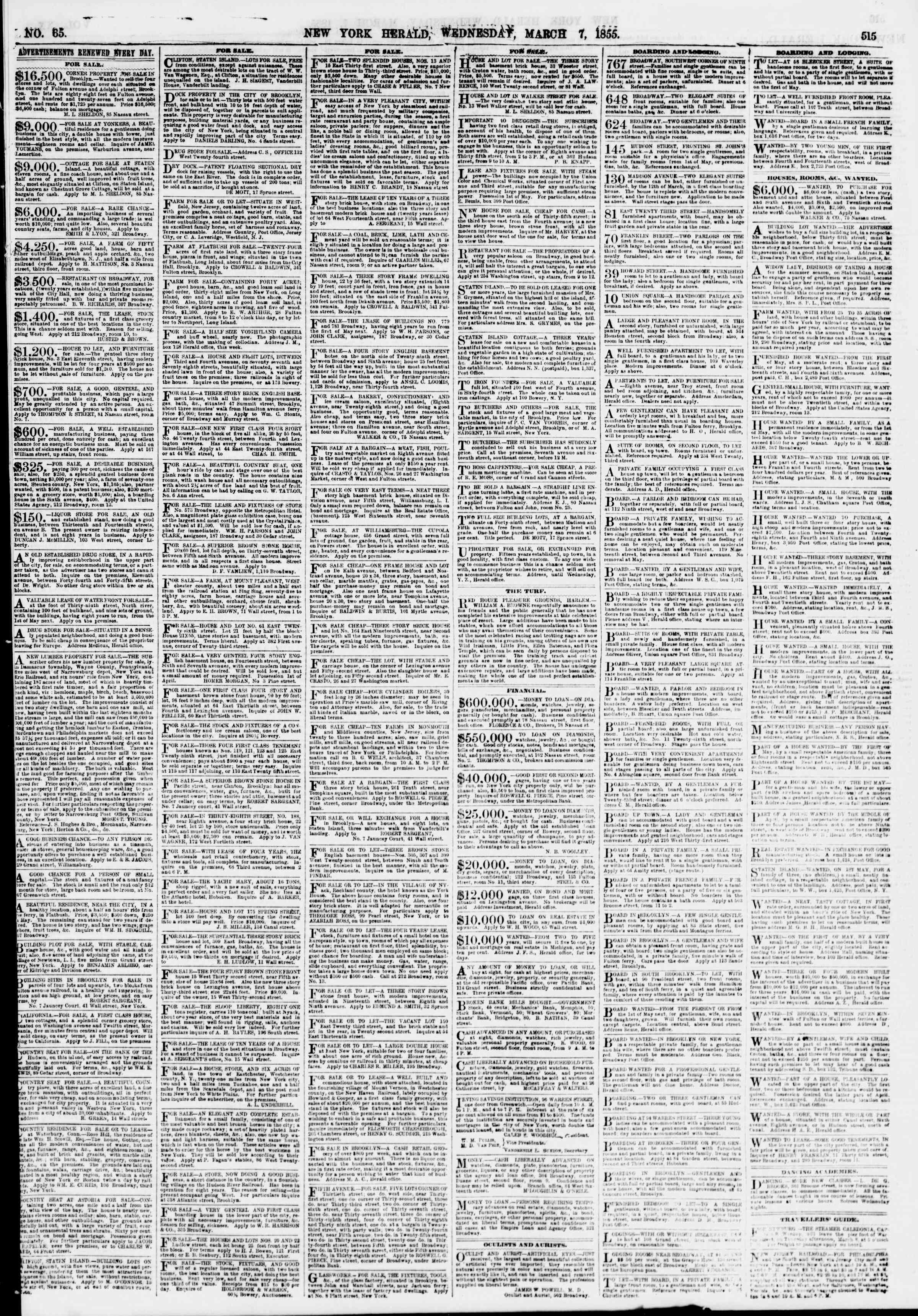 Newspaper of The New York Herald dated March 7, 1855 Page 3