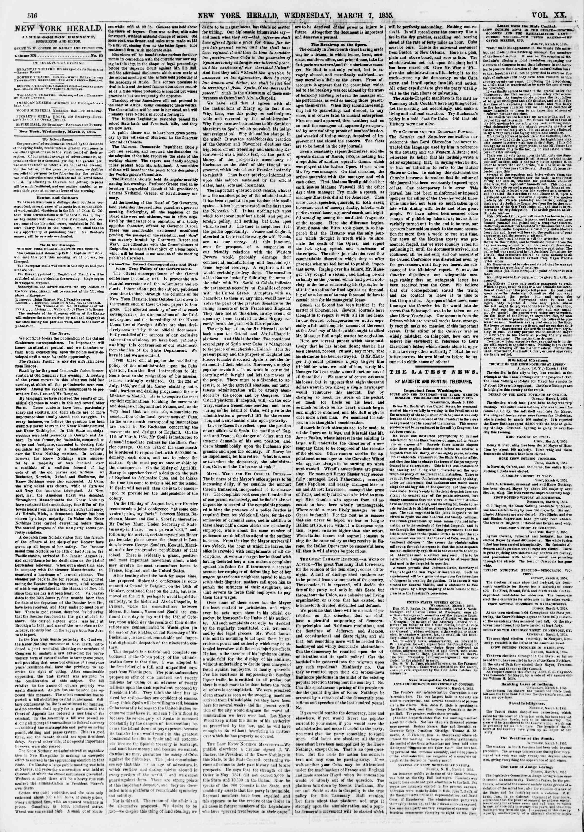 Newspaper of The New York Herald dated March 7, 1855 Page 4