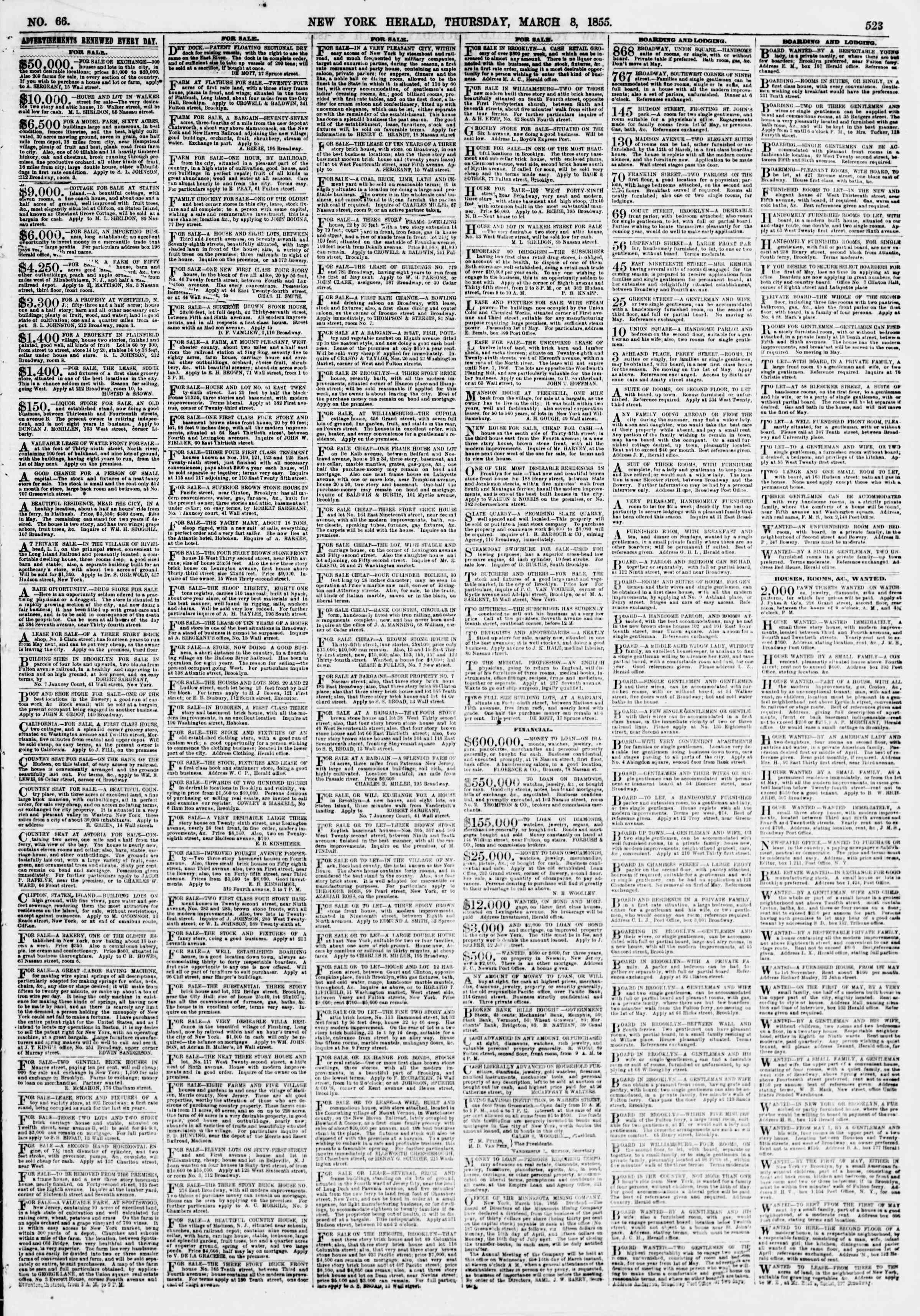 Newspaper of The New York Herald dated March 8, 1855 Page 3