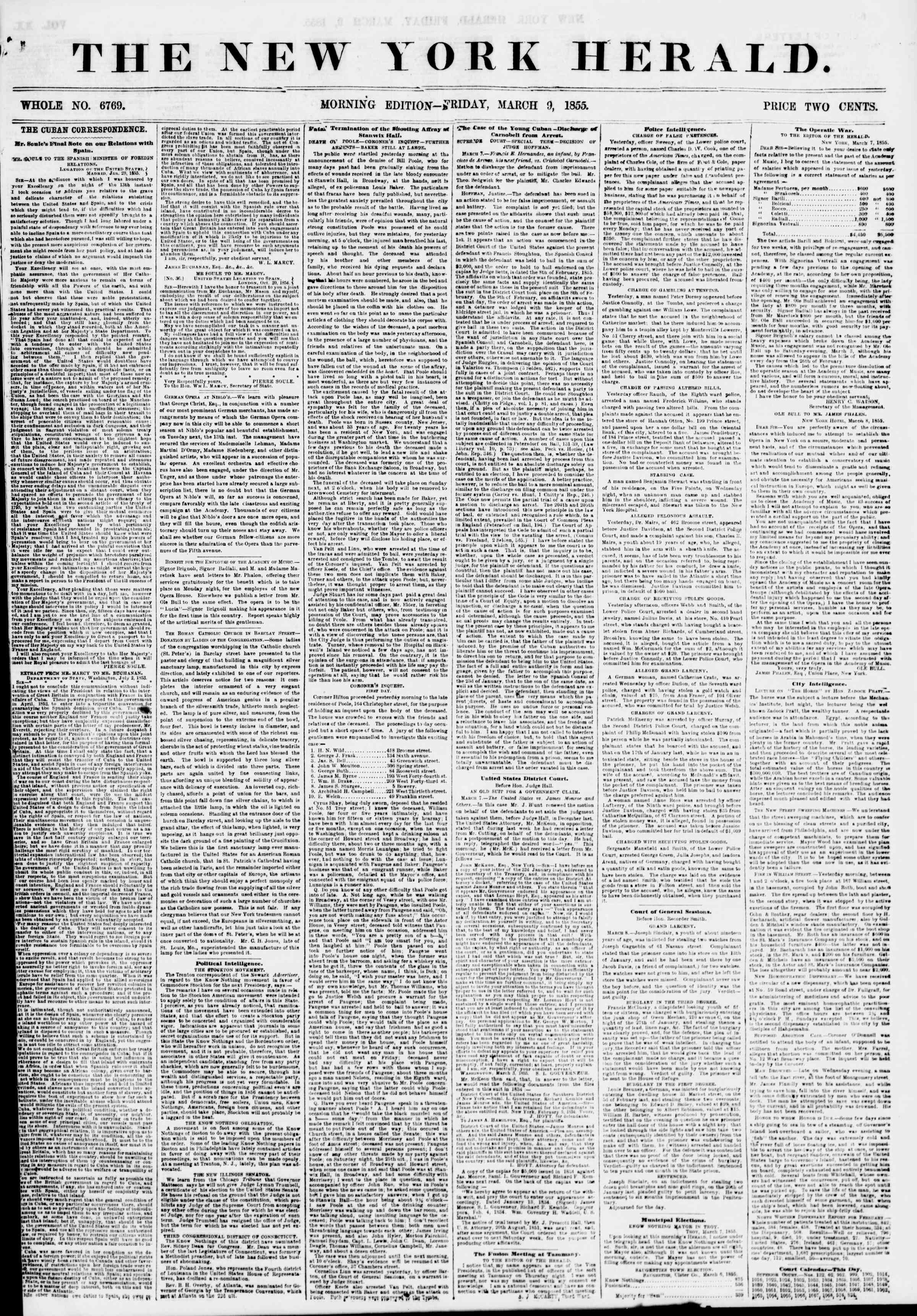 Newspaper of The New York Herald dated 9 Mart 1855 Page 1