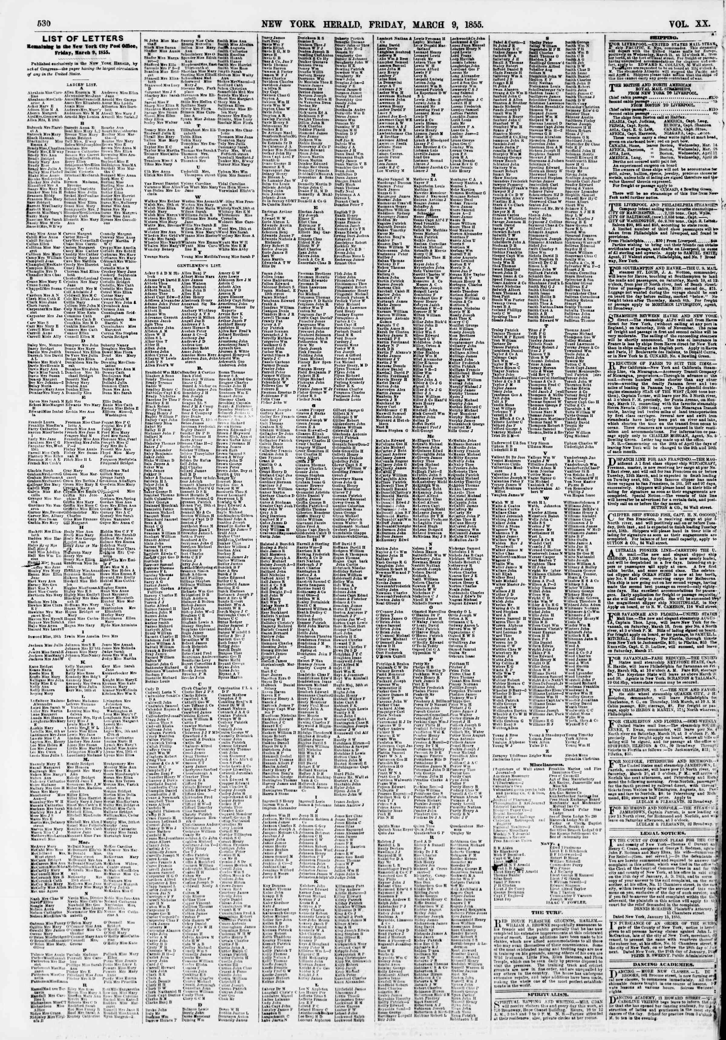 Newspaper of The New York Herald dated March 9, 1855 Page 2