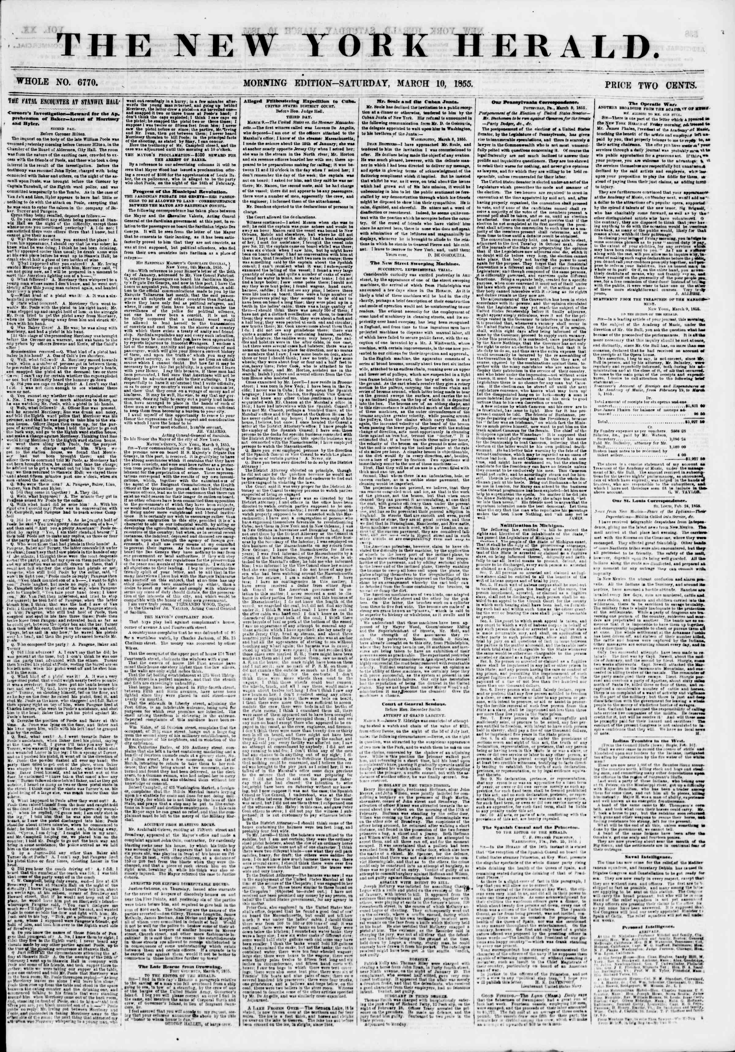 Newspaper of The New York Herald dated March 10, 1855 Page 1