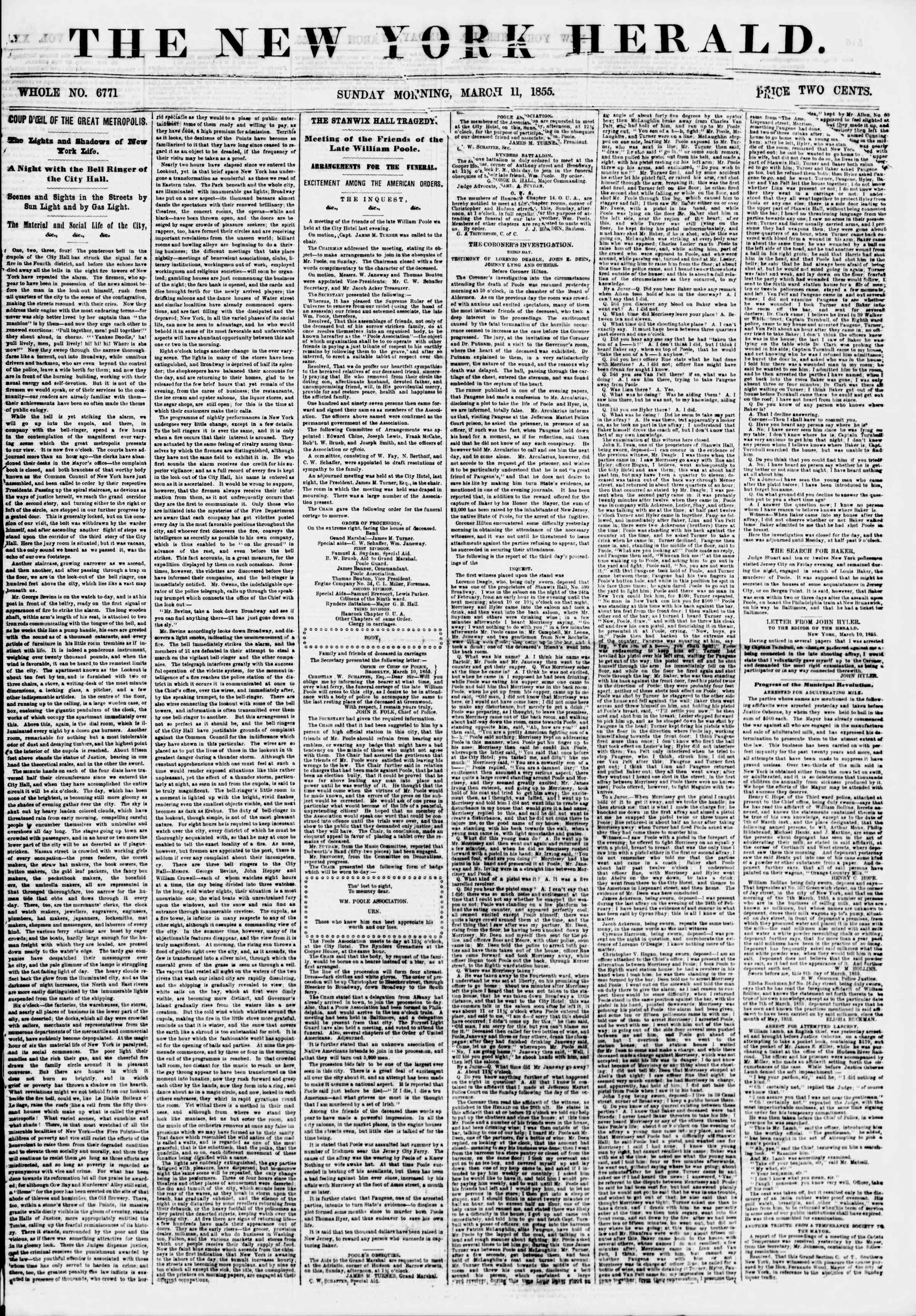 Newspaper of The New York Herald dated March 11, 1855 Page 1