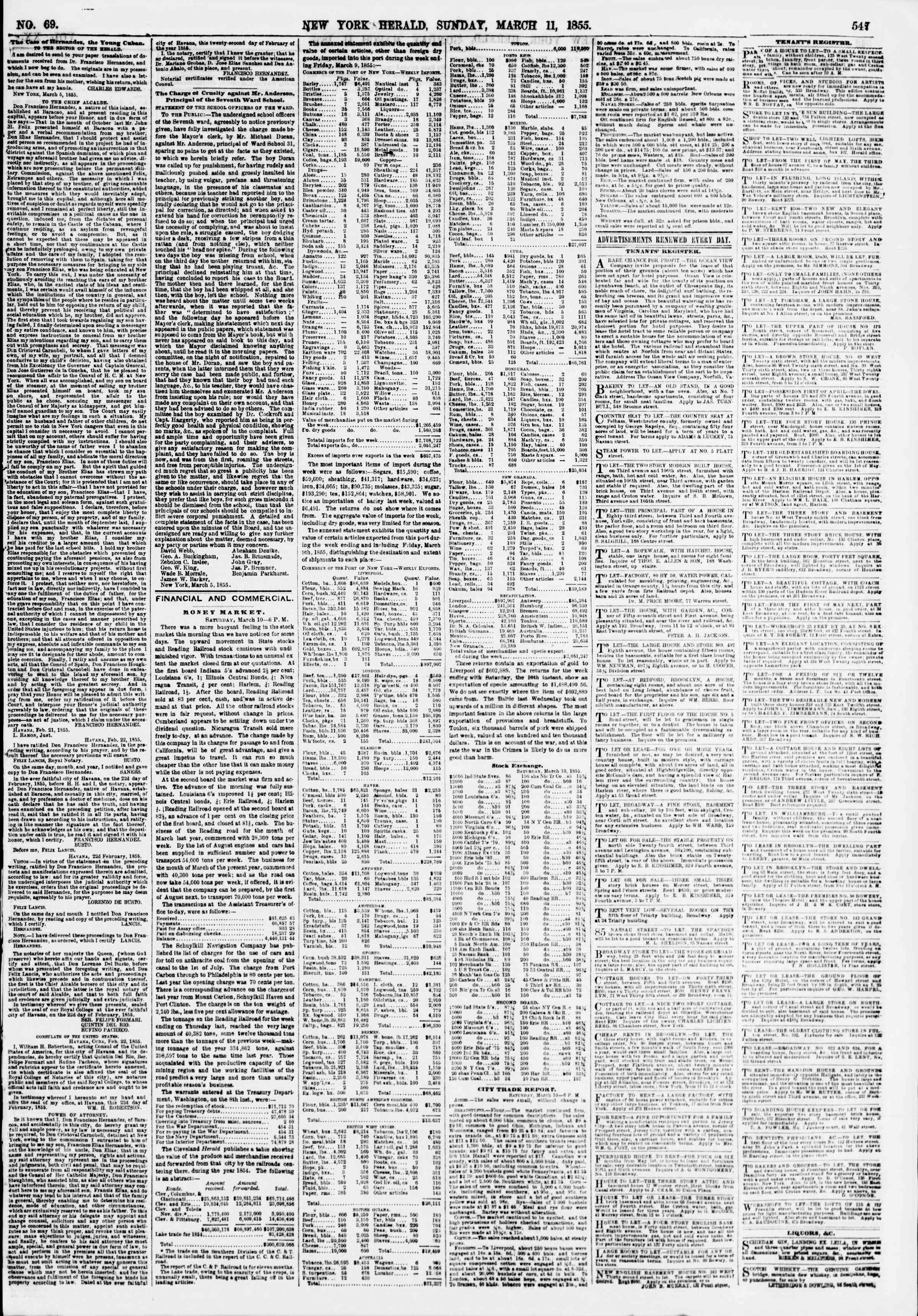 Newspaper of The New York Herald dated March 11, 1855 Page 3