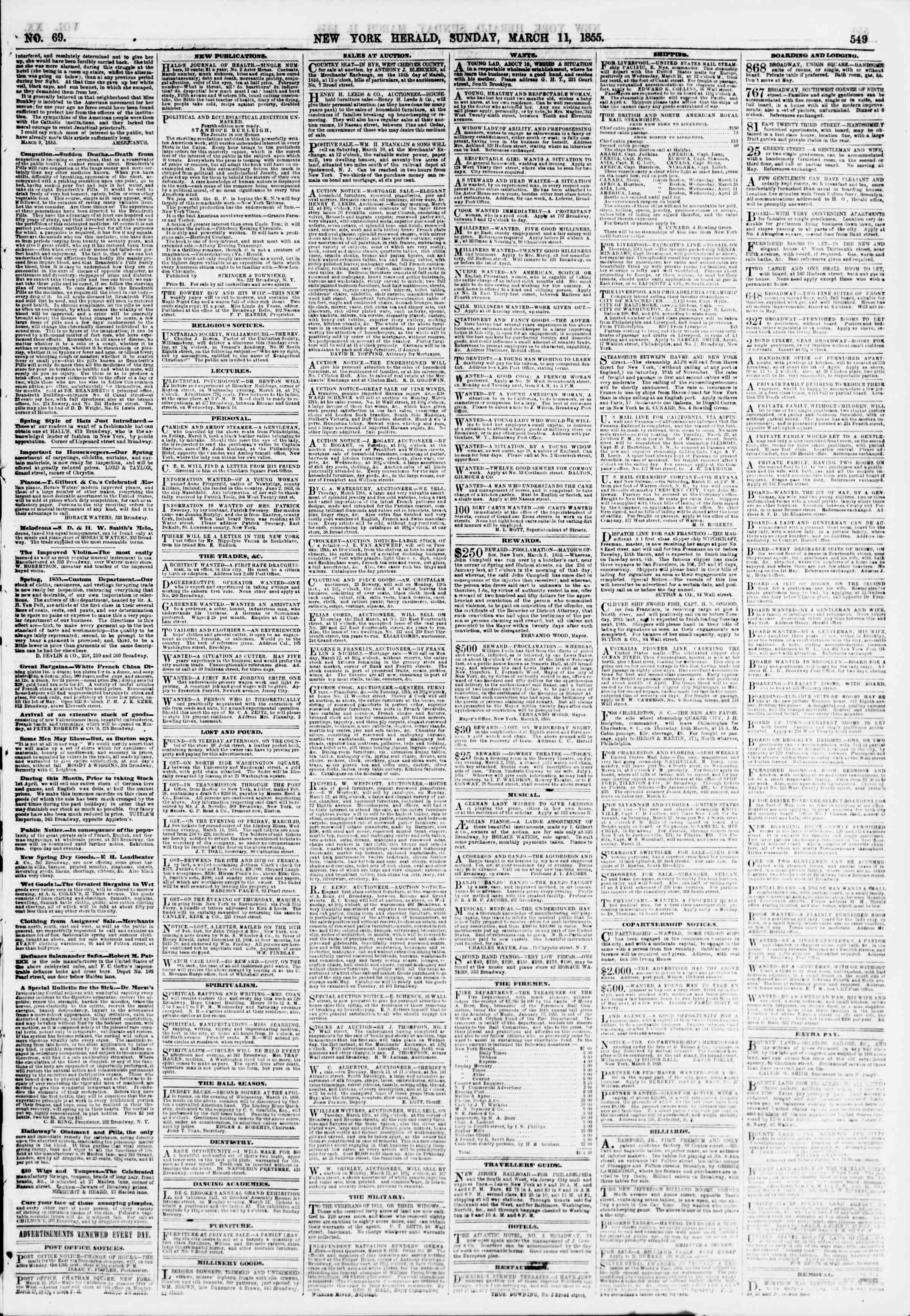 Newspaper of The New York Herald dated March 11, 1855 Page 5