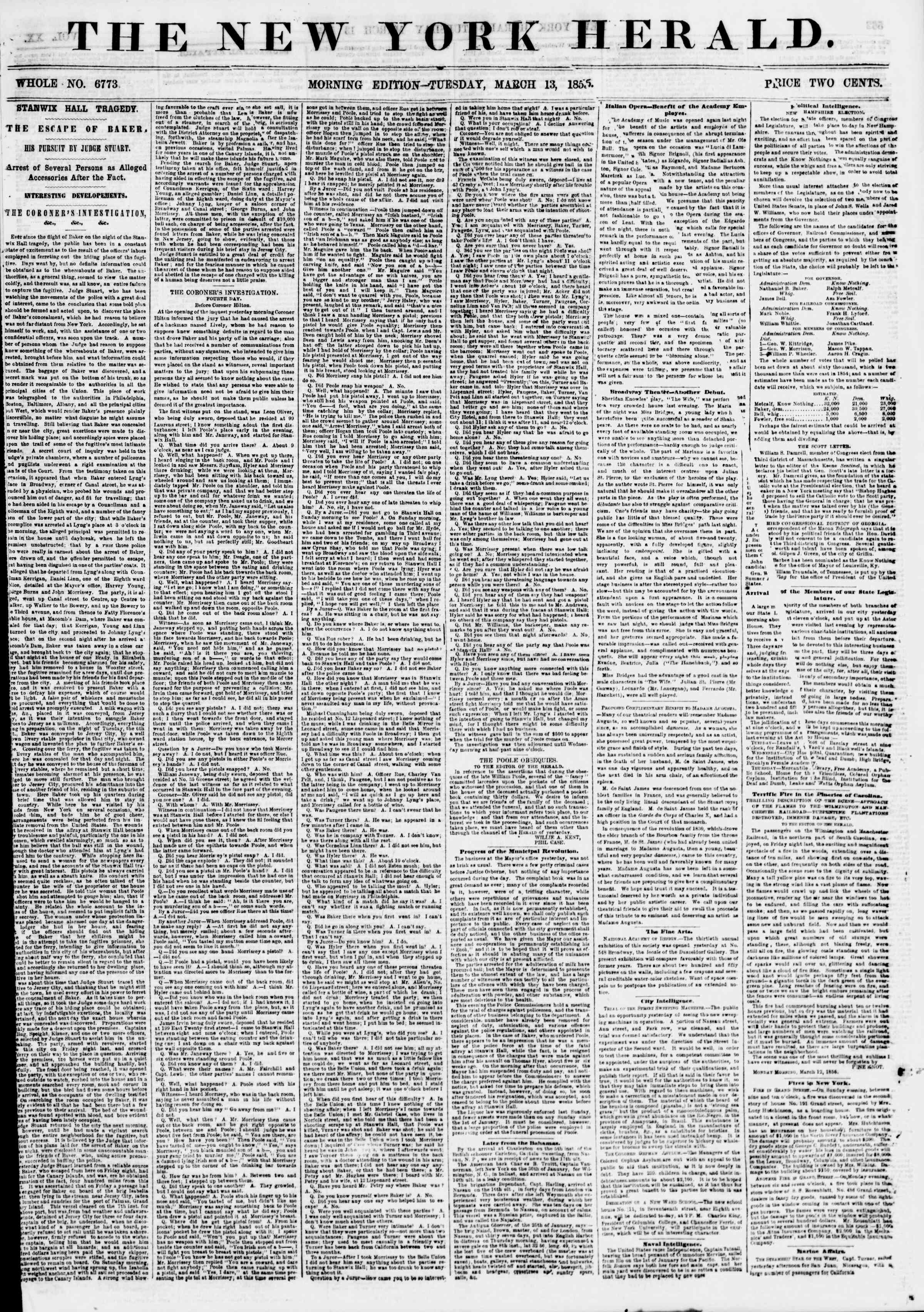 Newspaper of The New York Herald dated March 13, 1855 Page 1