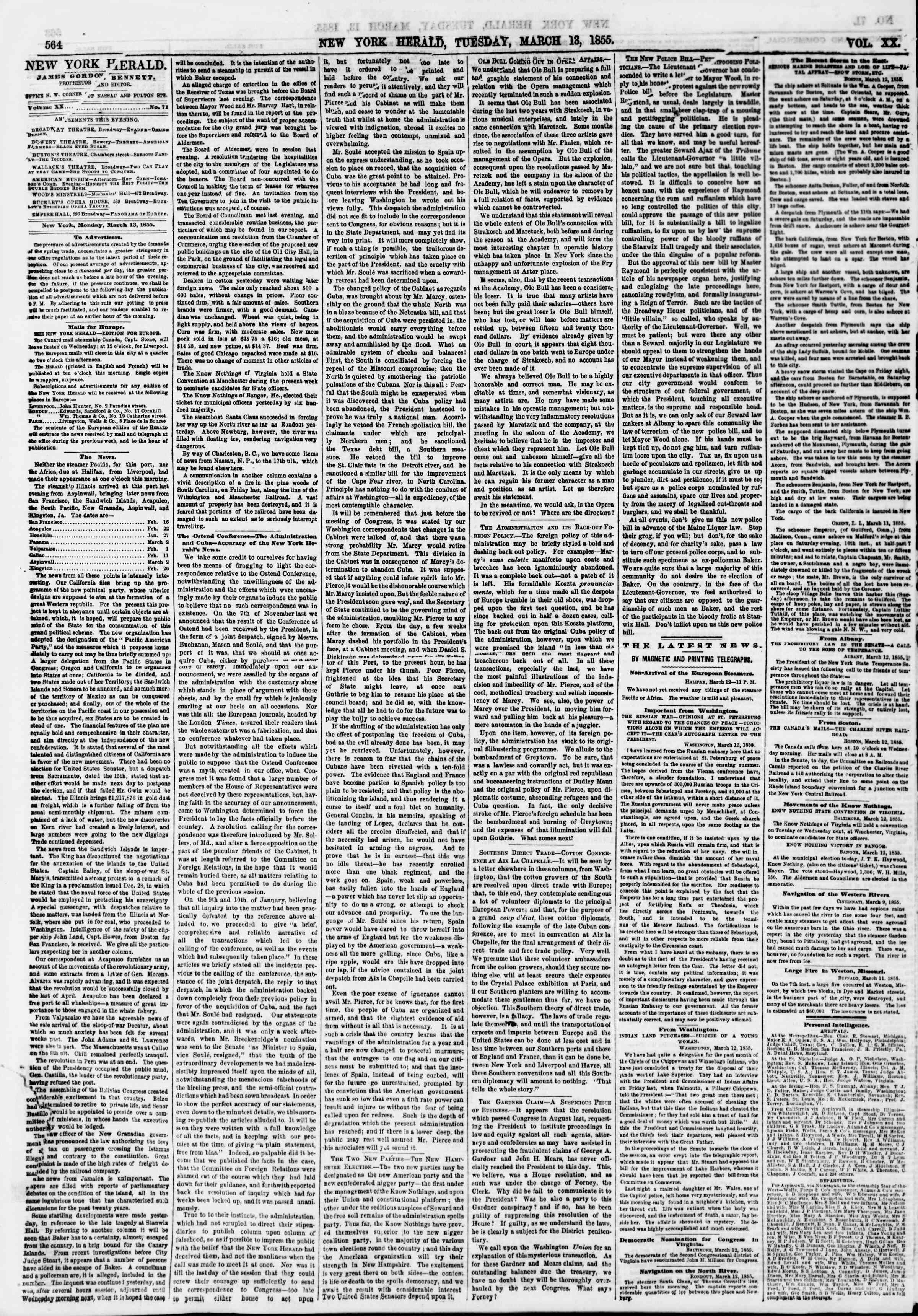Newspaper of The New York Herald dated March 13, 1855 Page 4