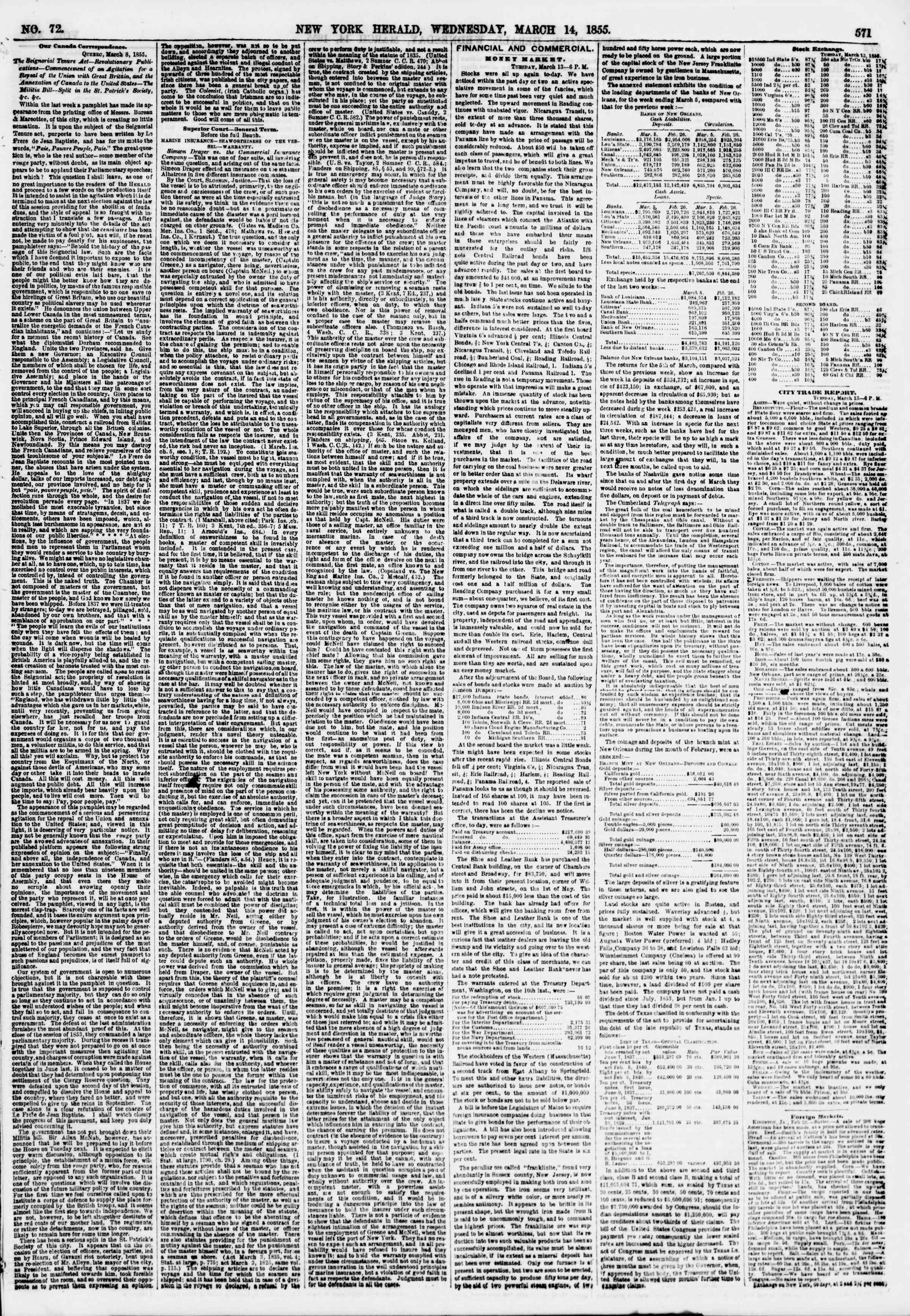 Newspaper of The New York Herald dated March 14, 1855 Page 3