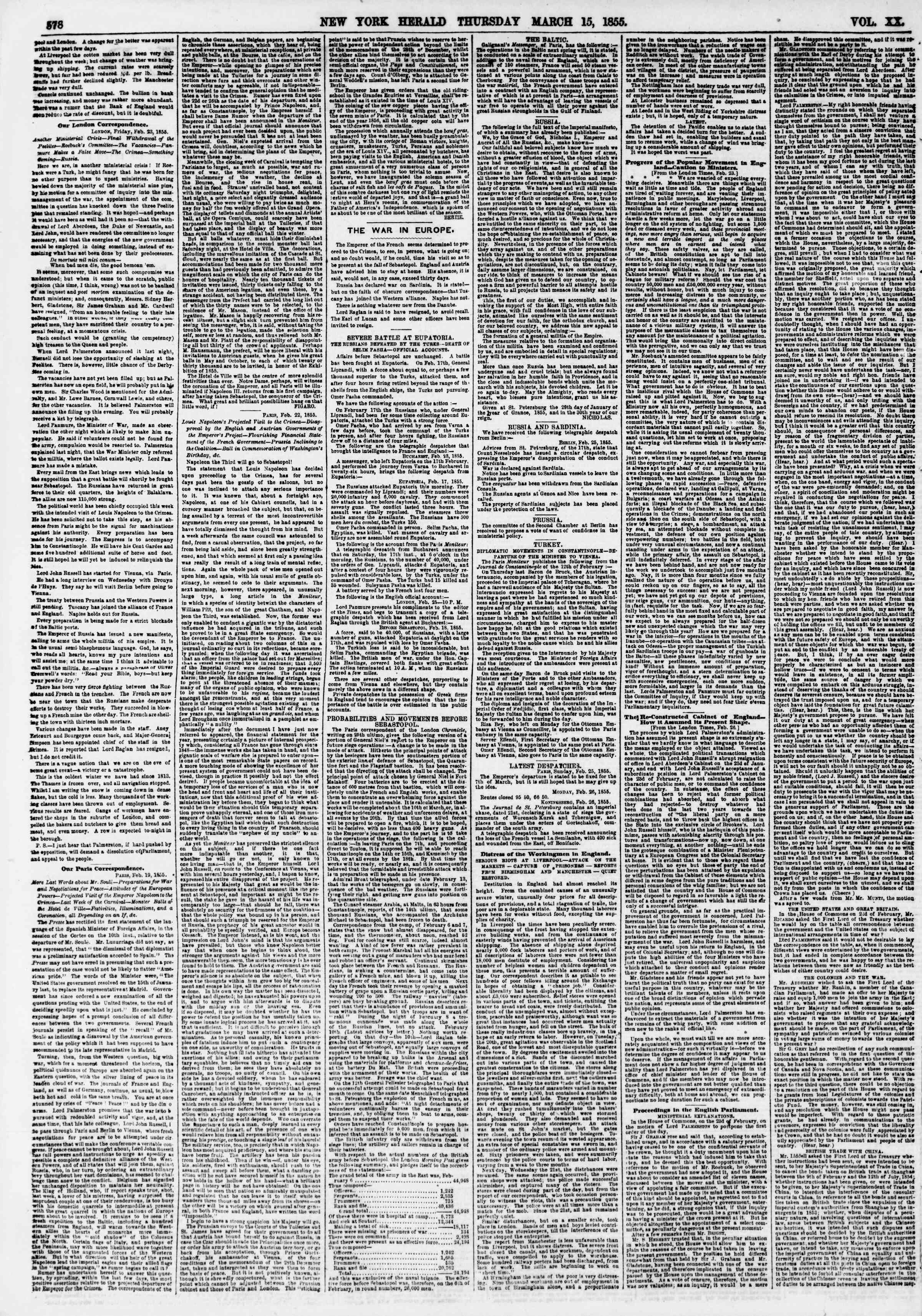 Newspaper of The New York Herald dated March 15, 1855 Page 2