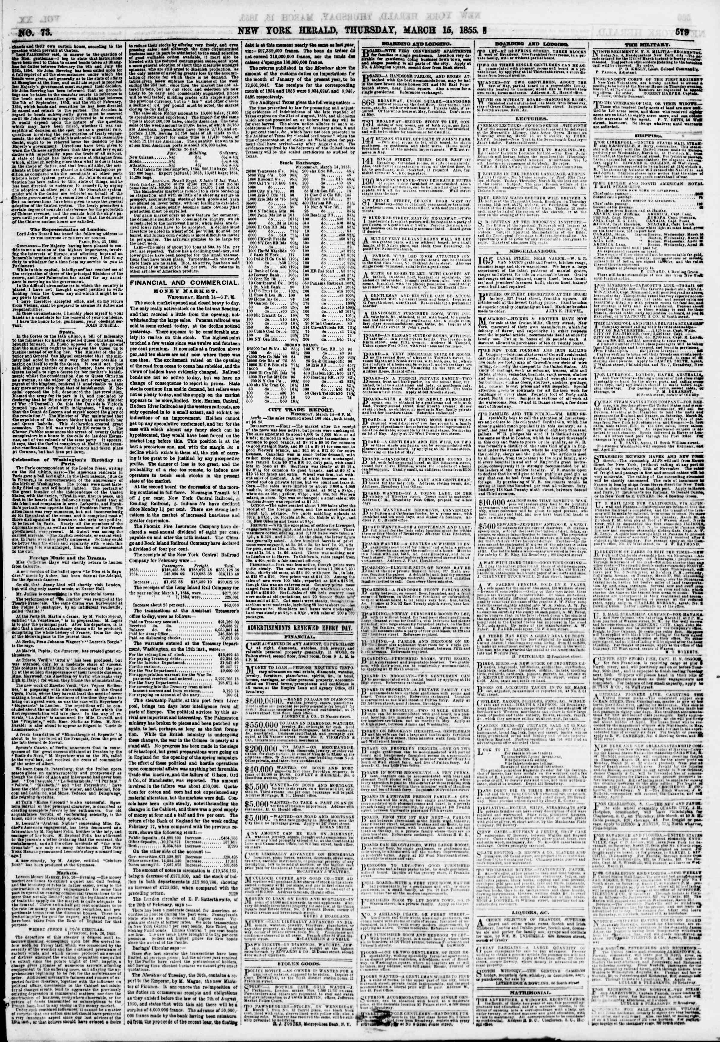 Newspaper of The New York Herald dated March 15, 1855 Page 3