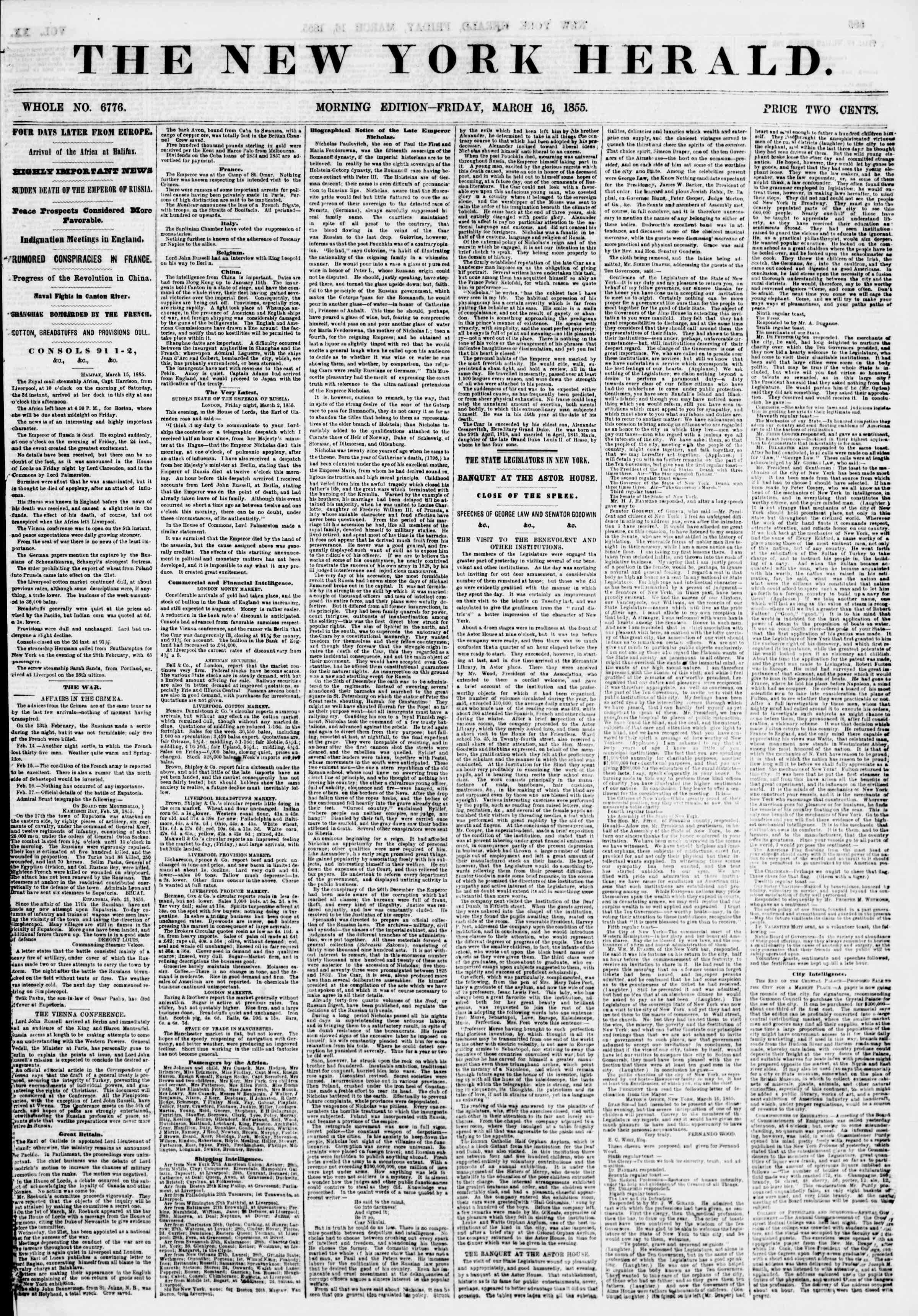Newspaper of The New York Herald dated March 16, 1855 Page 1