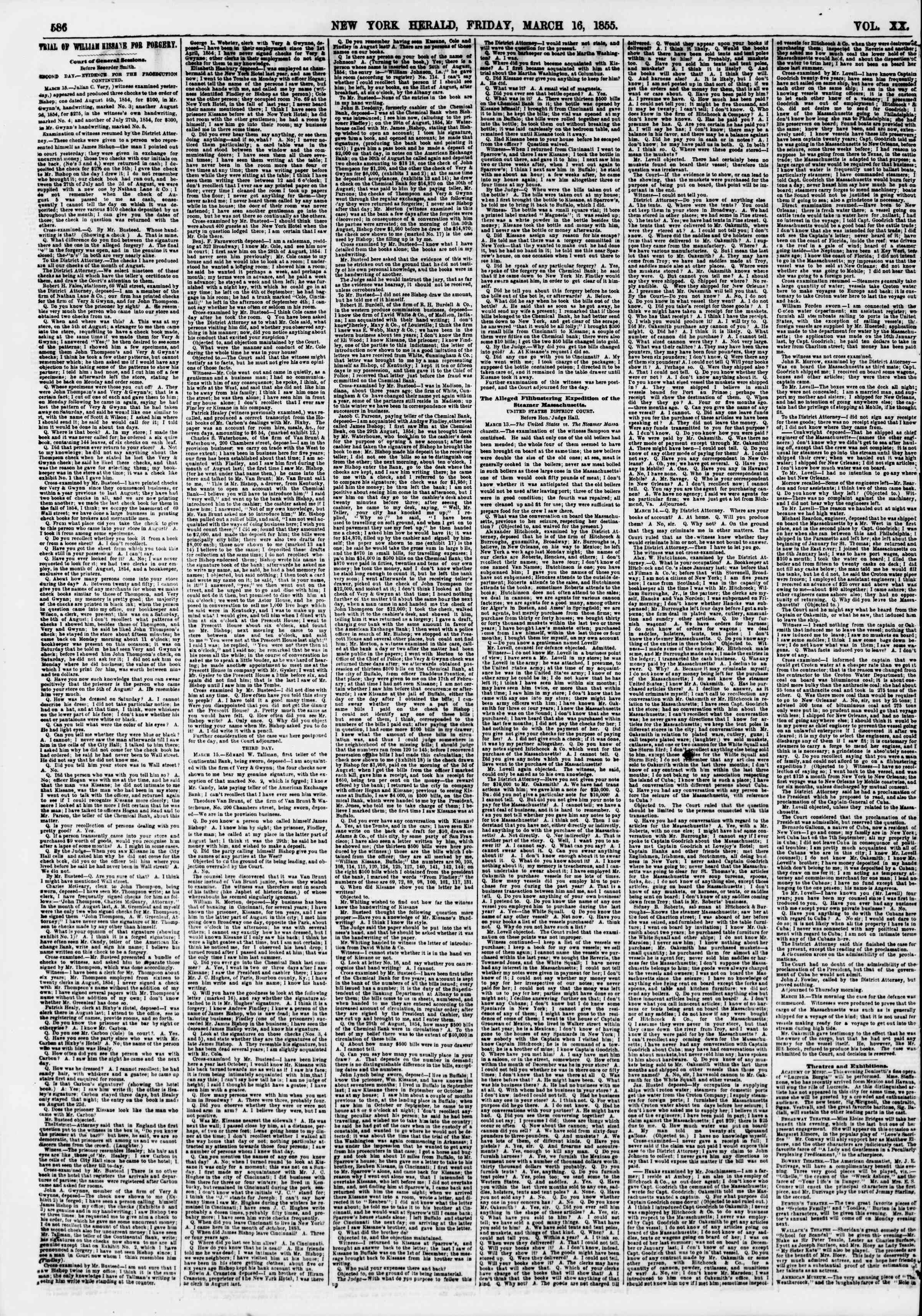 Newspaper of The New York Herald dated March 16, 1855 Page 2