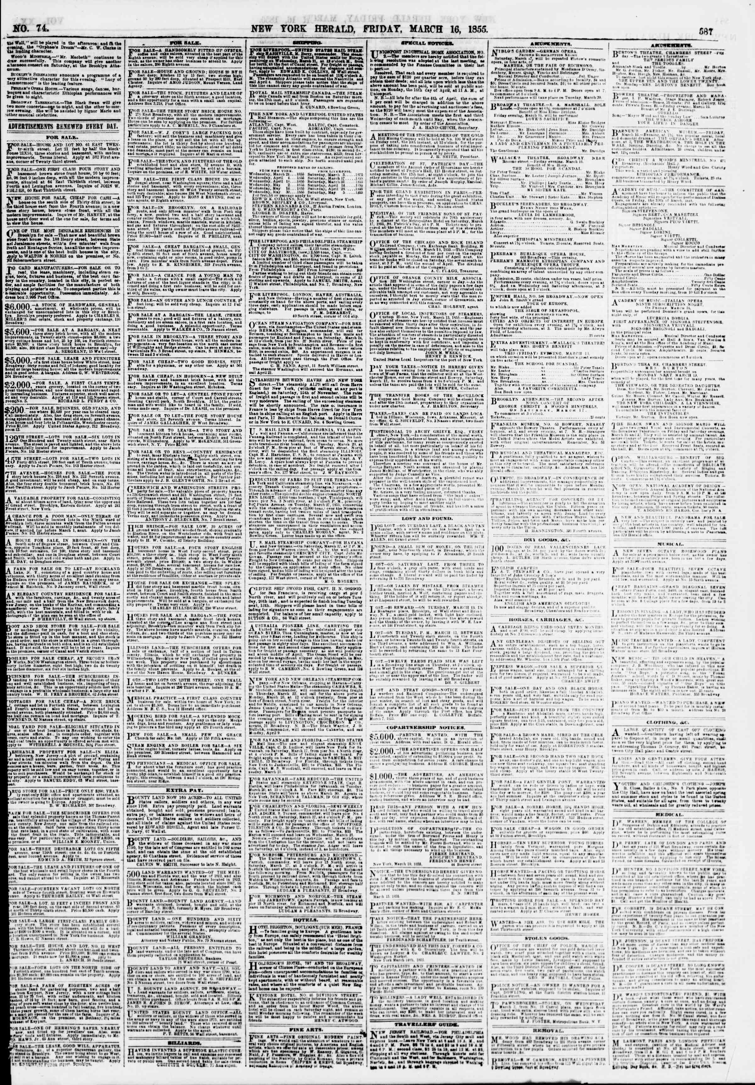 Newspaper of The New York Herald dated March 16, 1855 Page 3