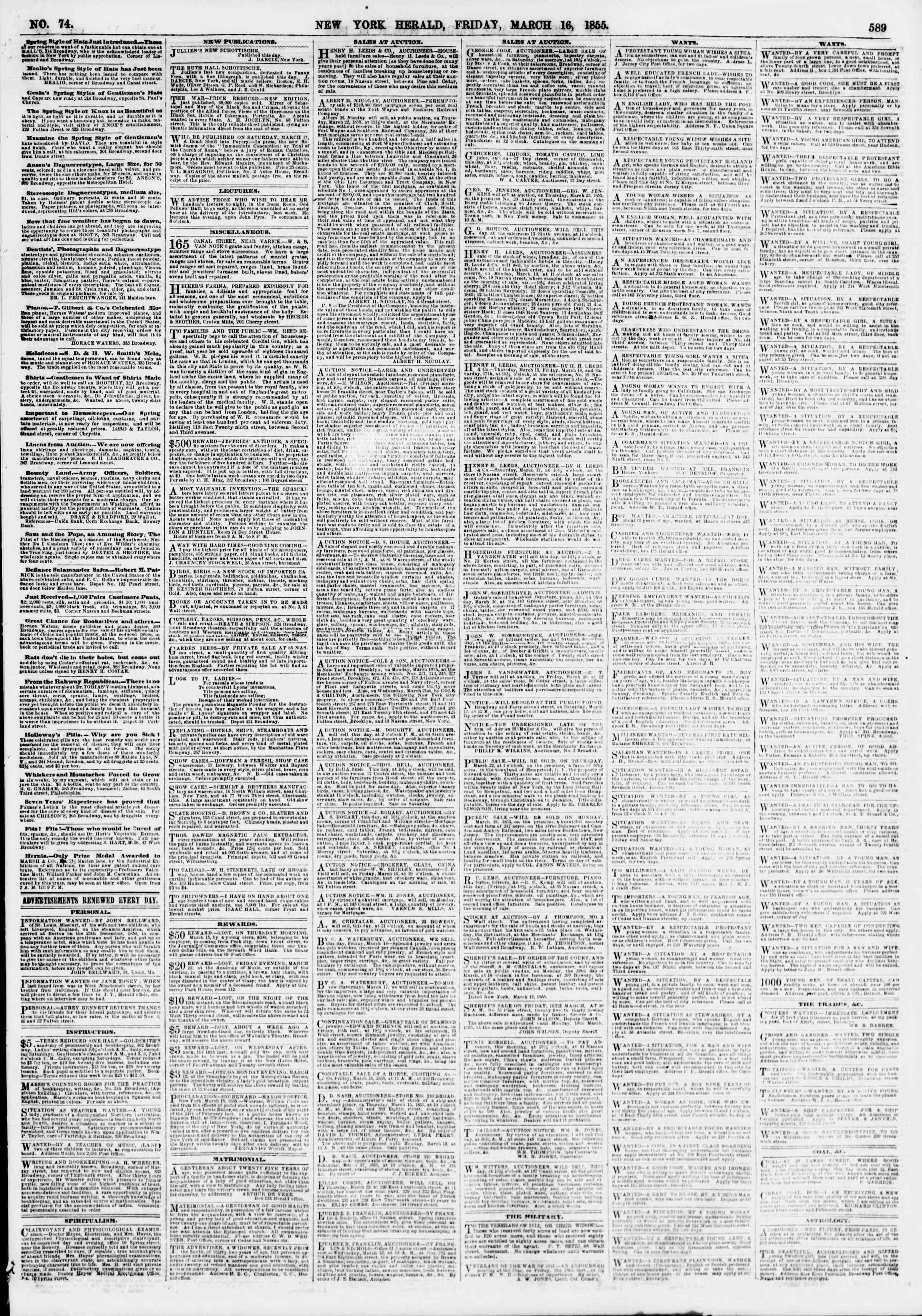Newspaper of The New York Herald dated March 16, 1855 Page 5
