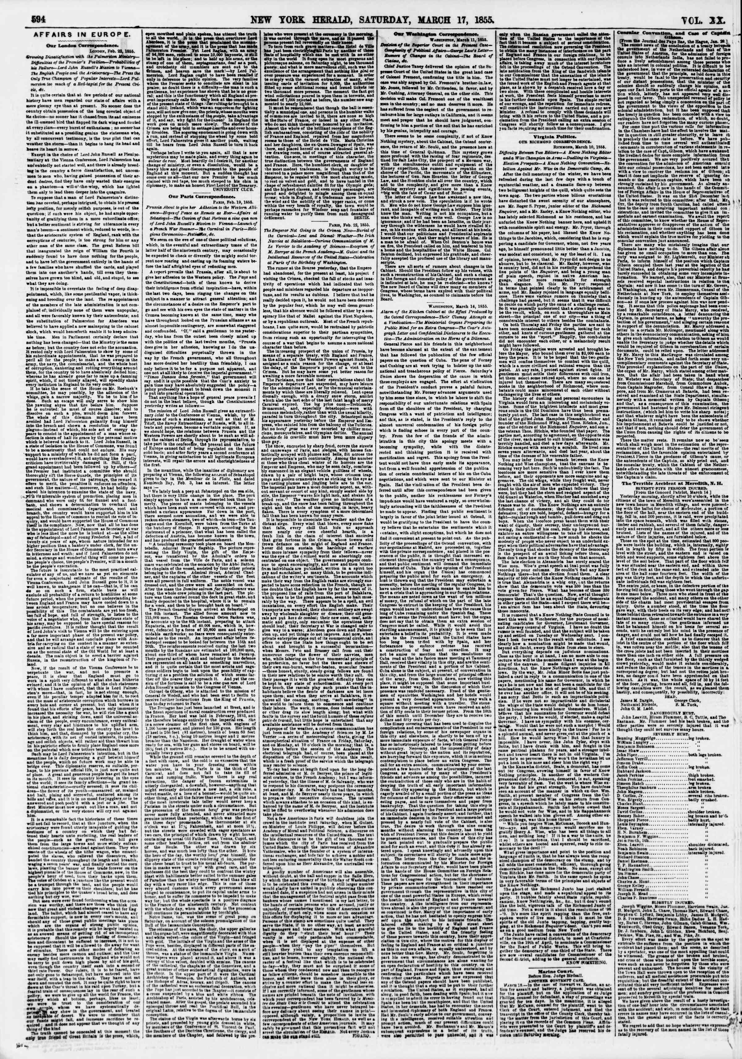 Newspaper of The New York Herald dated March 17, 1855 Page 2
