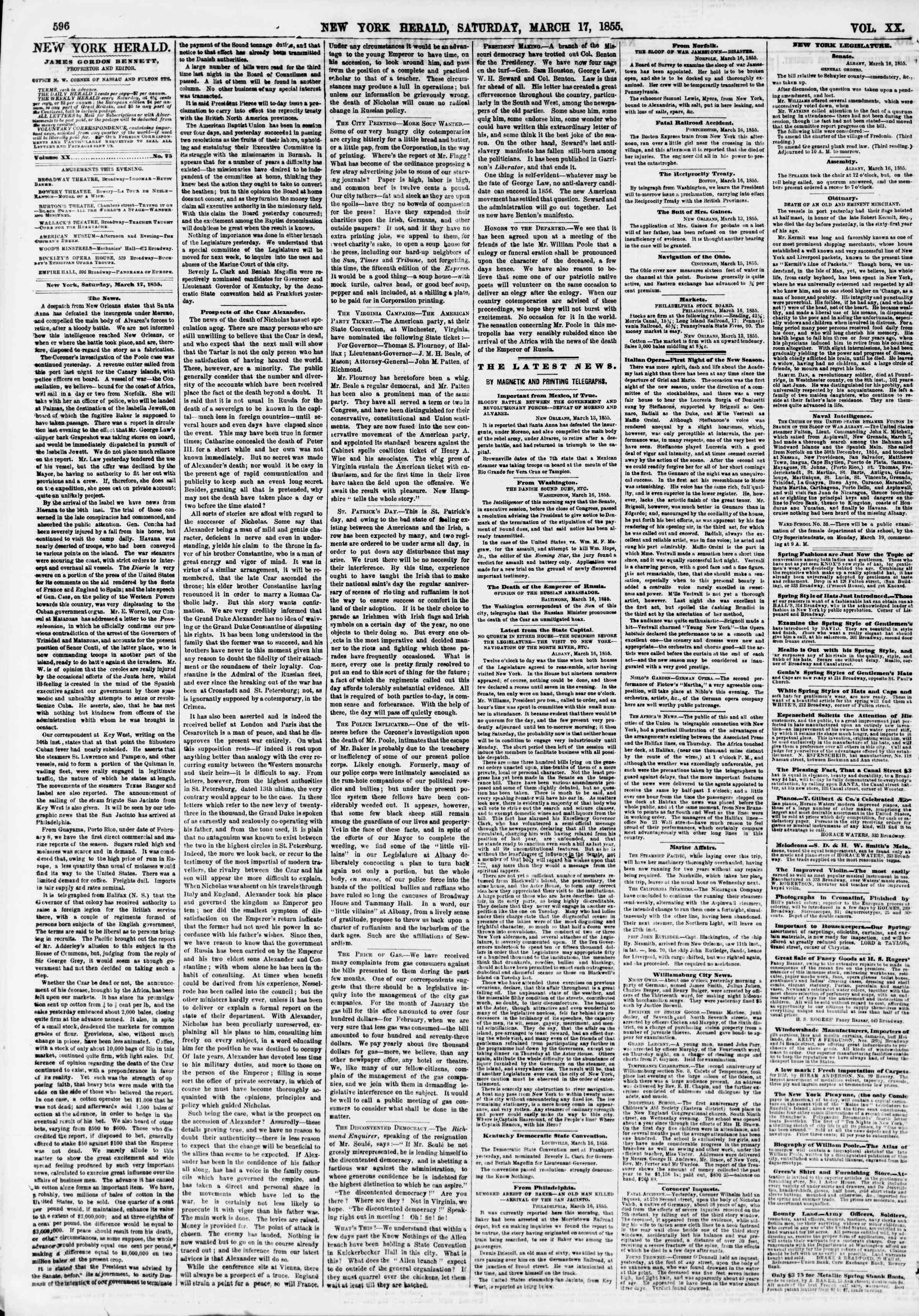 Newspaper of The New York Herald dated March 17, 1855 Page 4