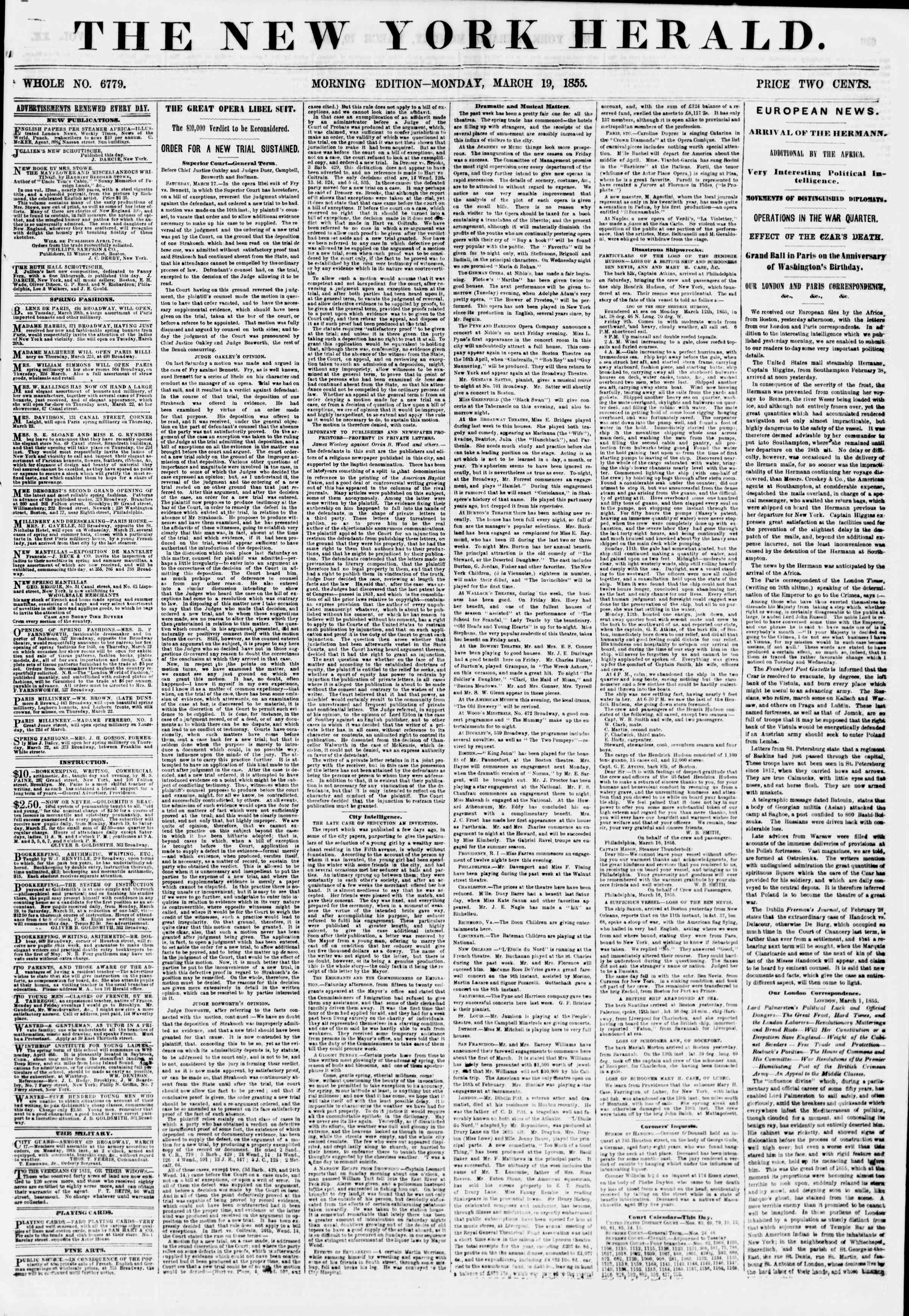 Newspaper of The New York Herald dated March 19, 1855 Page 1