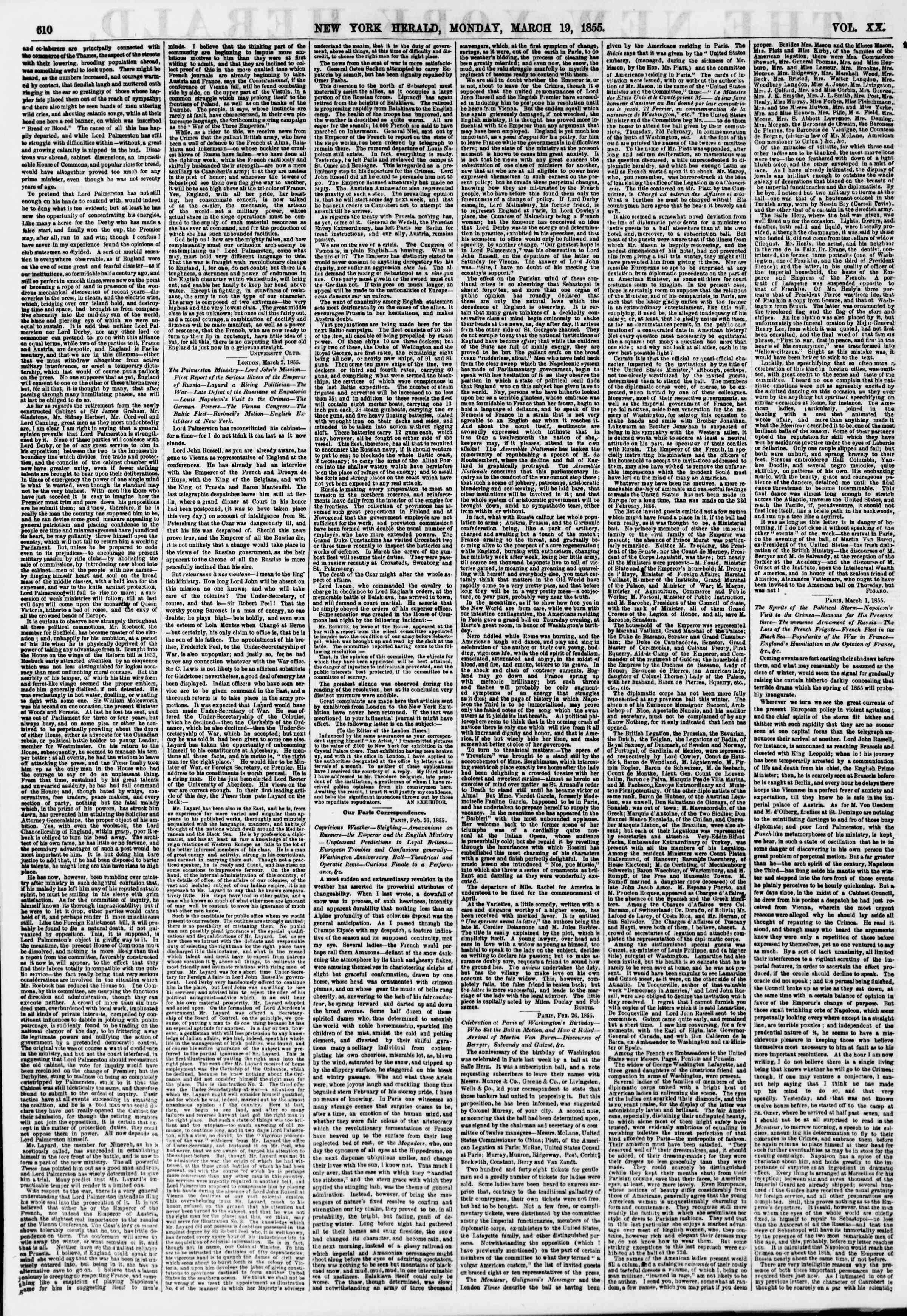 Newspaper of The New York Herald dated March 19, 1855 Page 2