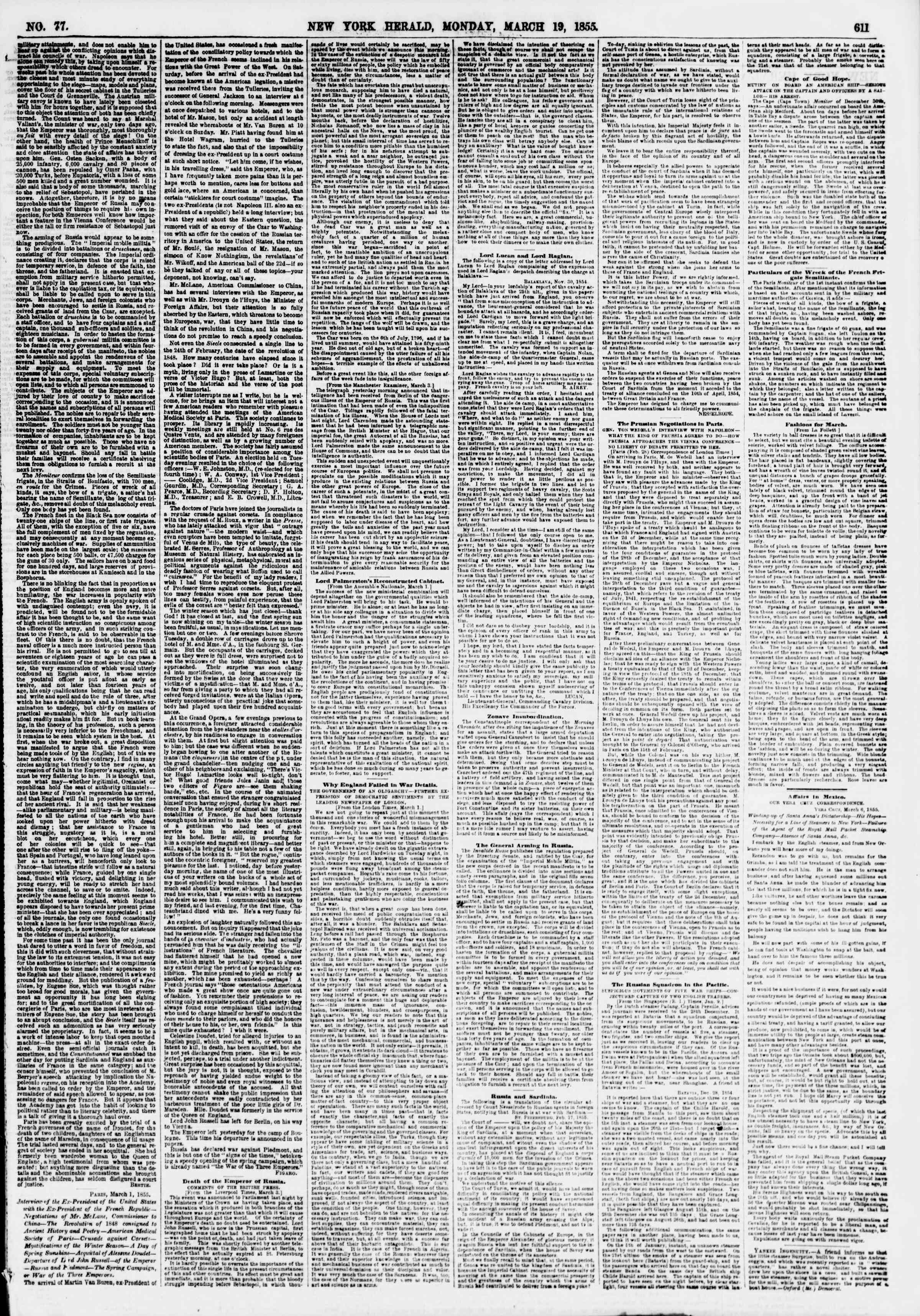 Newspaper of The New York Herald dated March 19, 1855 Page 3