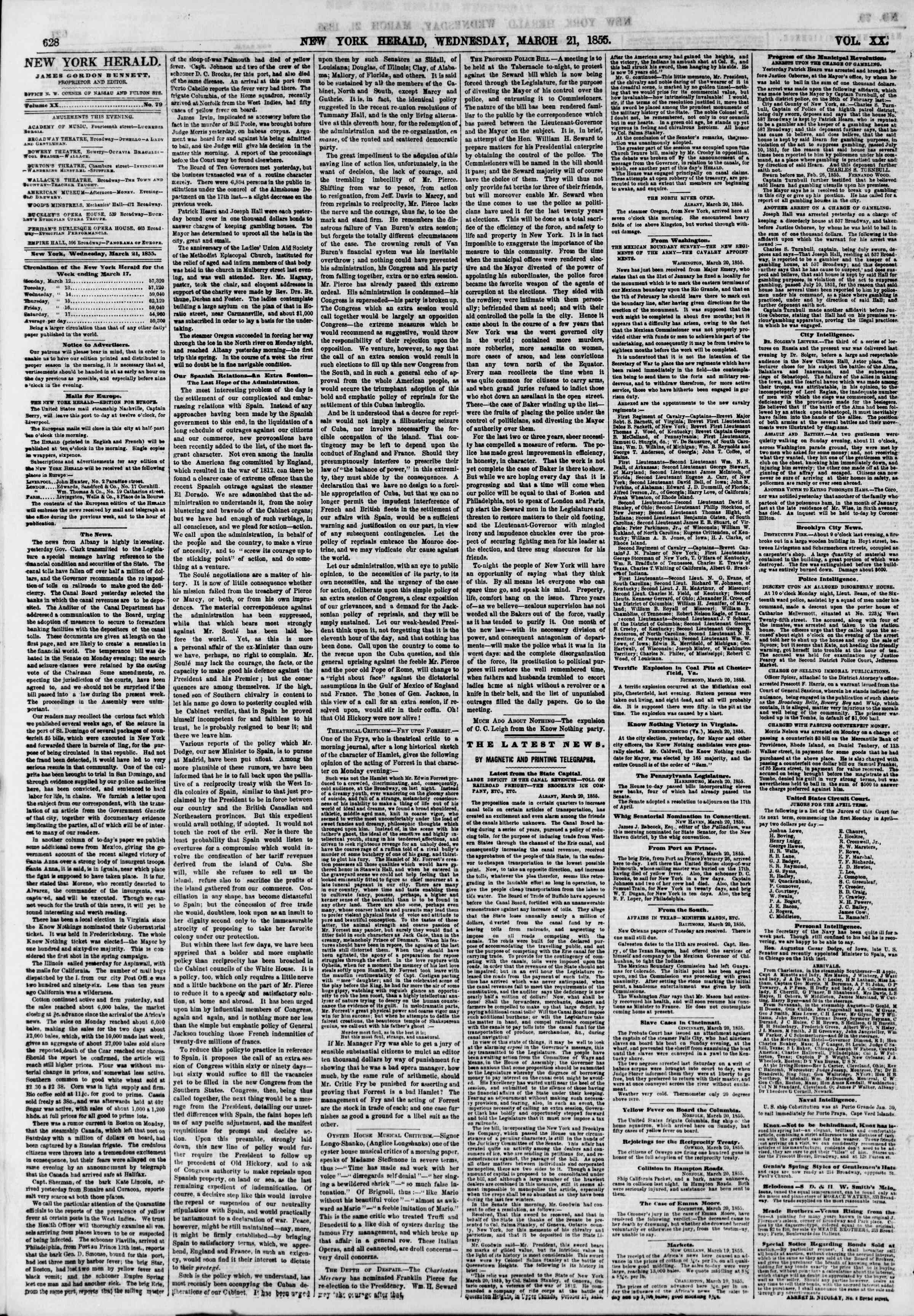 Newspaper of The New York Herald dated March 21, 1855 Page 4