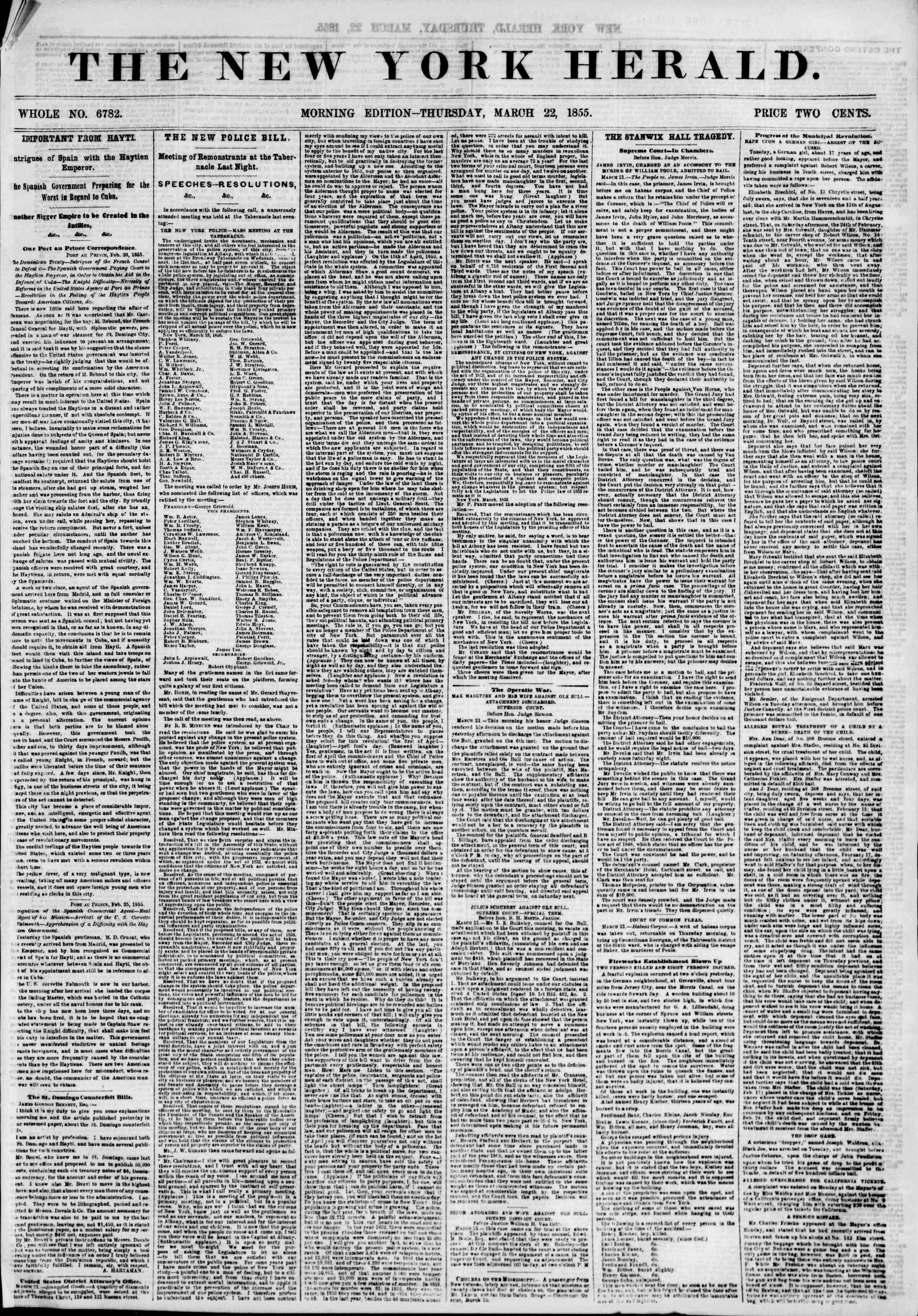 Newspaper of The New York Herald dated March 22, 1855 Page 1
