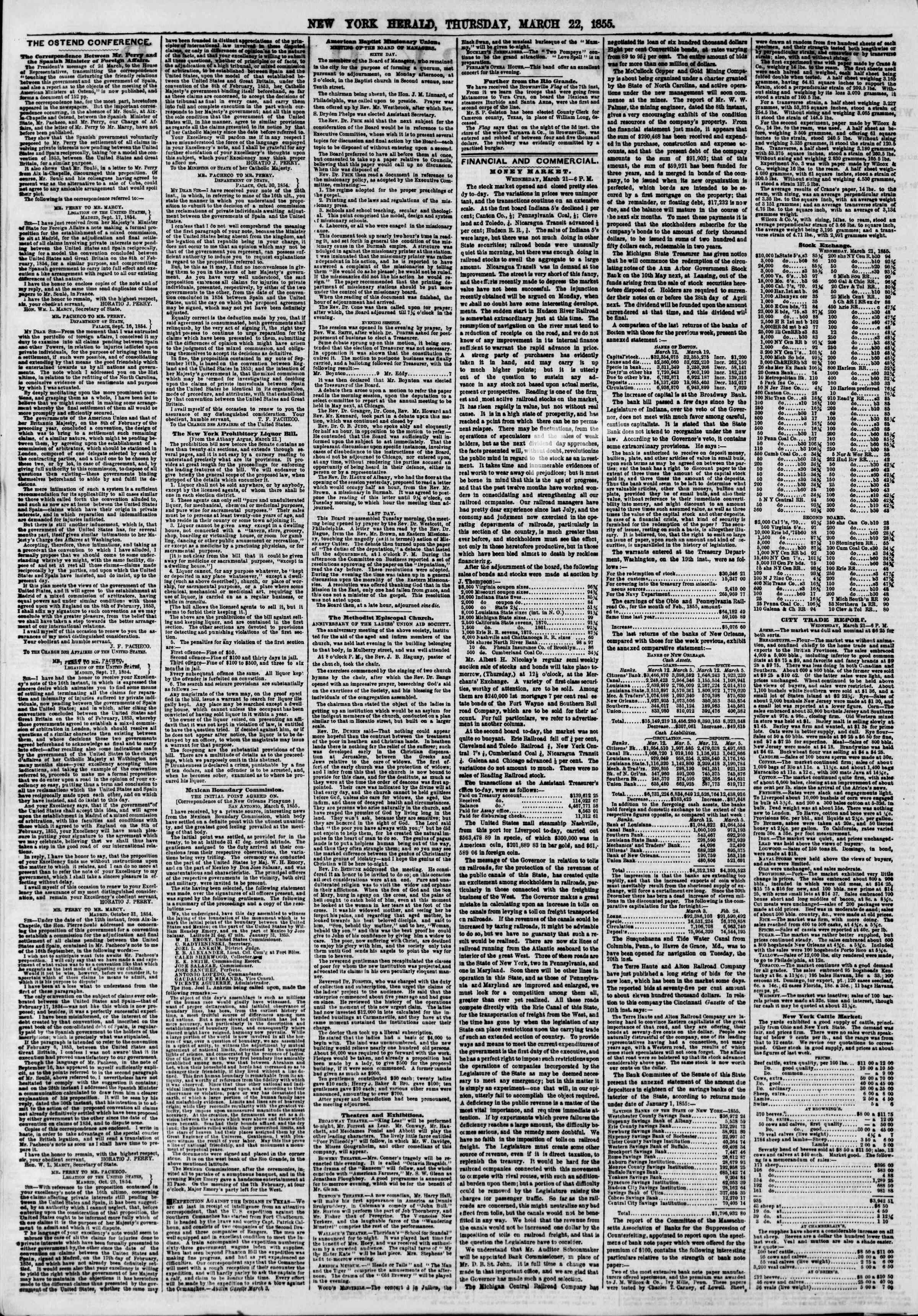 Newspaper of The New York Herald dated March 22, 1855 Page 2