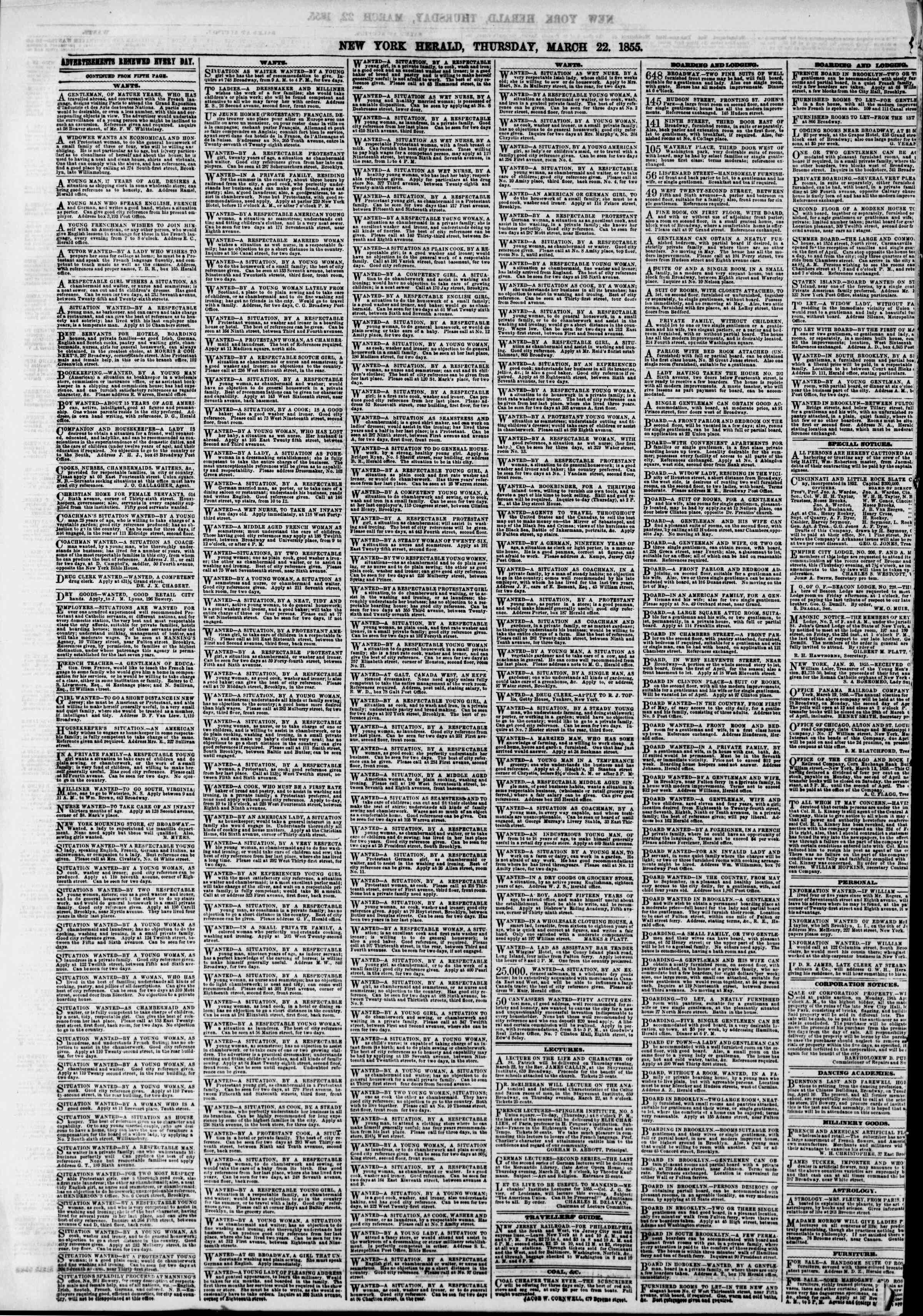 Newspaper of The New York Herald dated March 22, 1855 Page 6