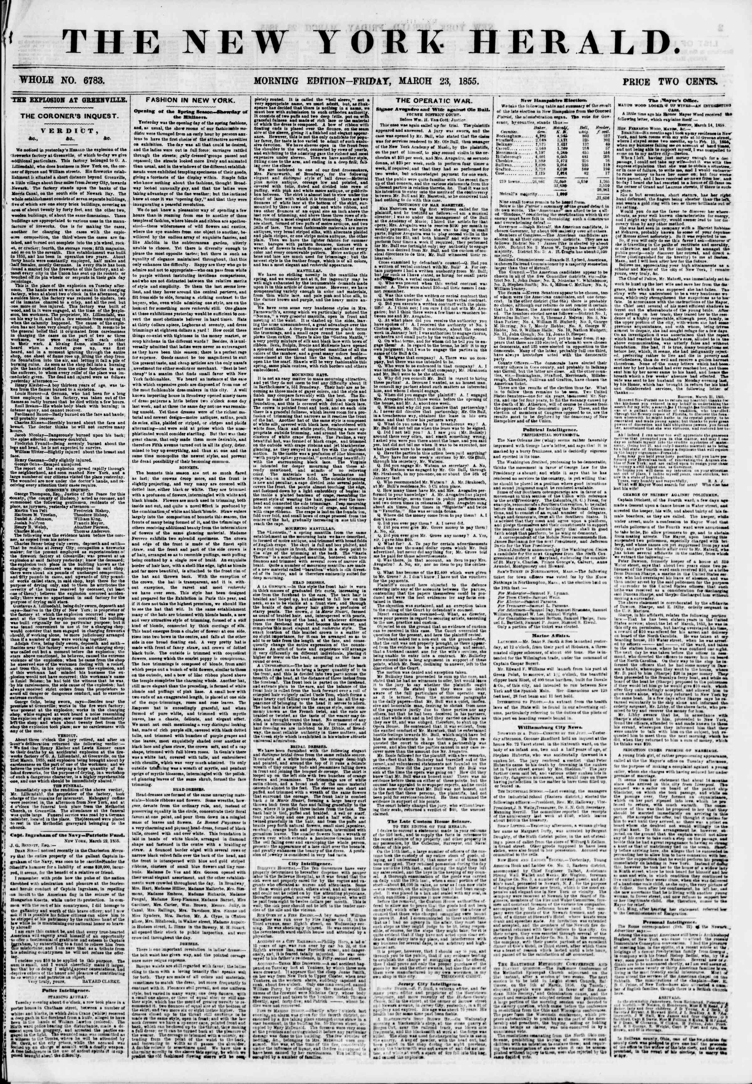 Newspaper of The New York Herald dated March 23, 1855 Page 1