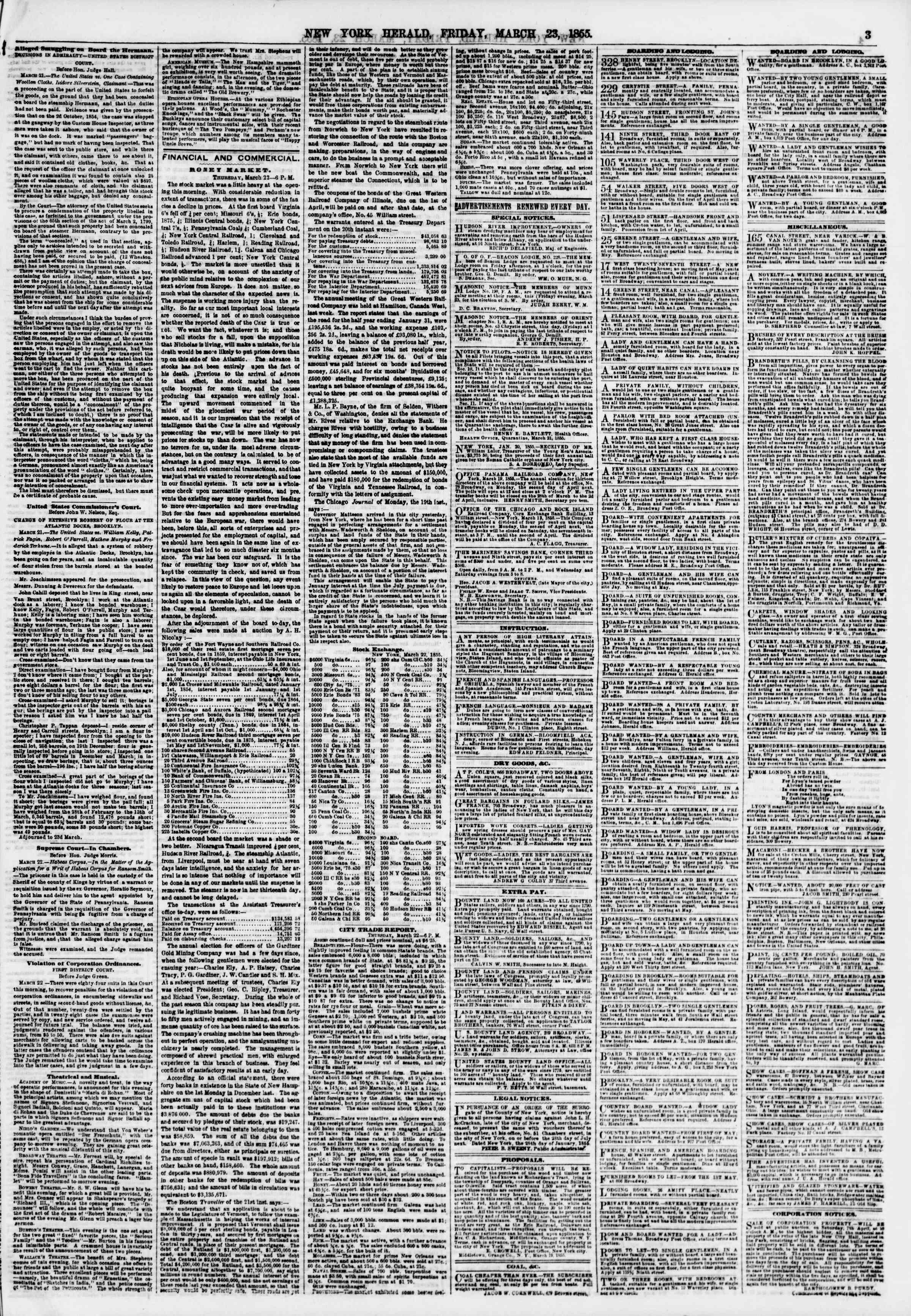 Newspaper of The New York Herald dated March 23, 1855 Page 3