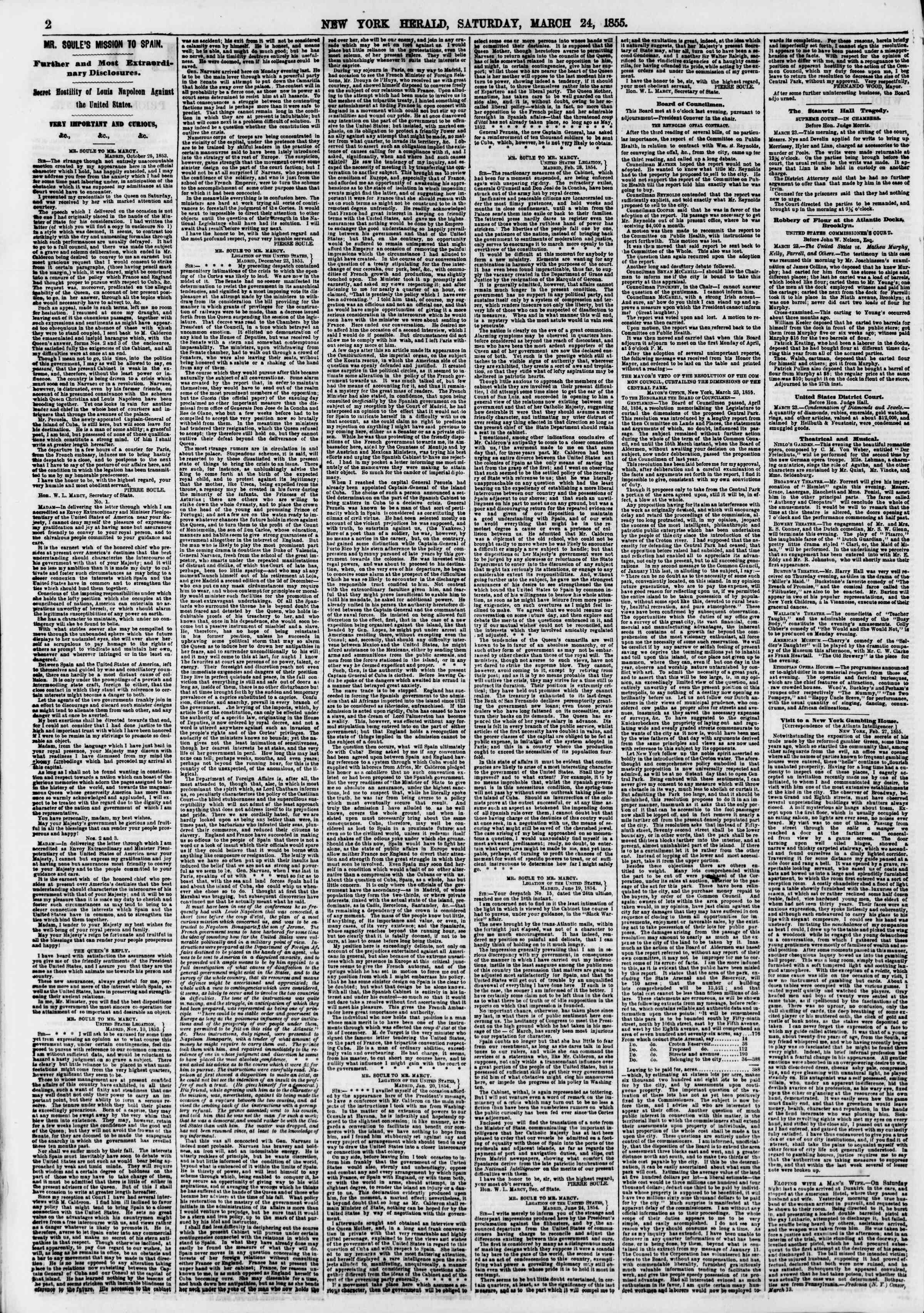 Newspaper of The New York Herald dated March 24, 1855 Page 2