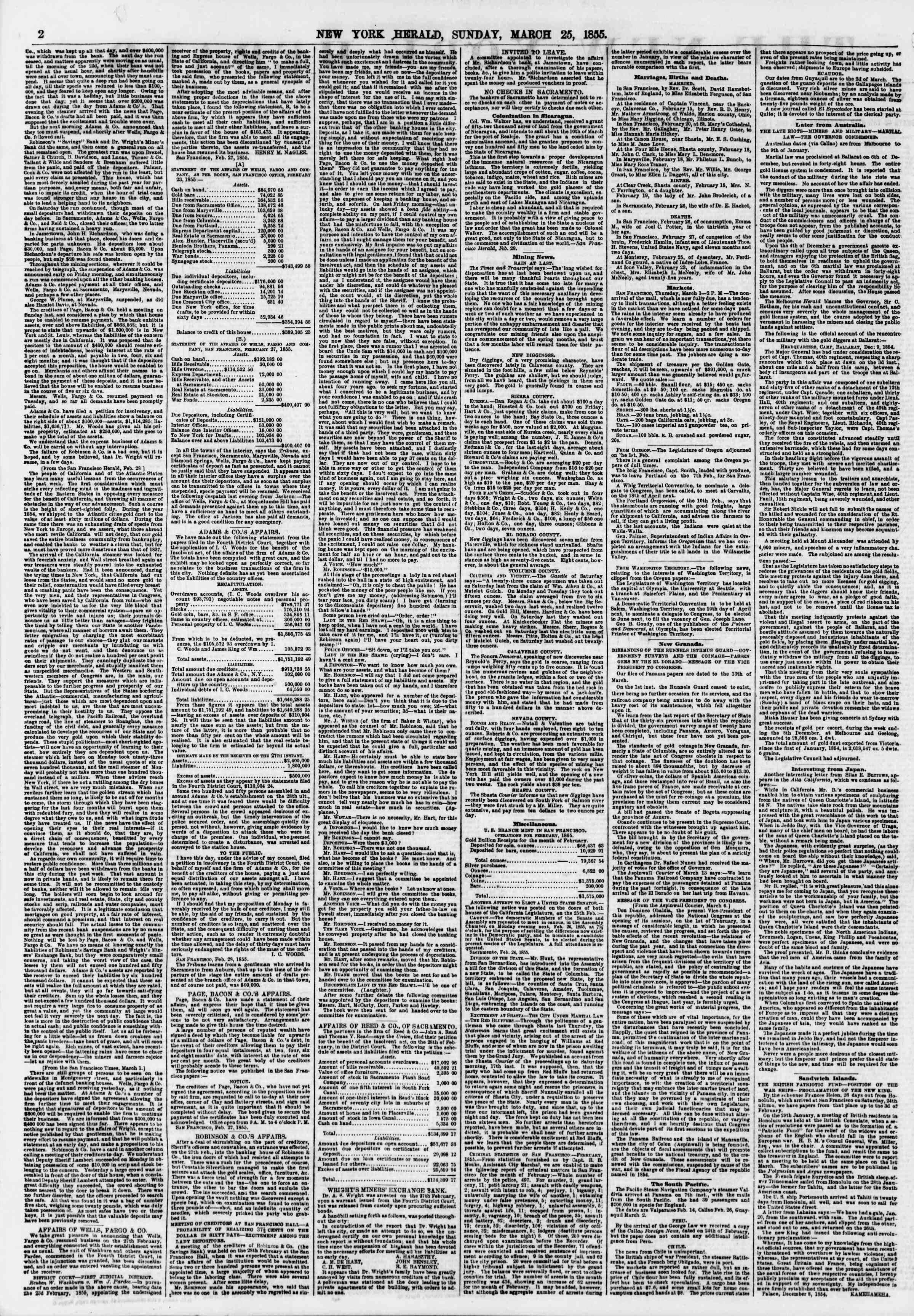 Newspaper of The New York Herald dated March 25, 1855 Page 2