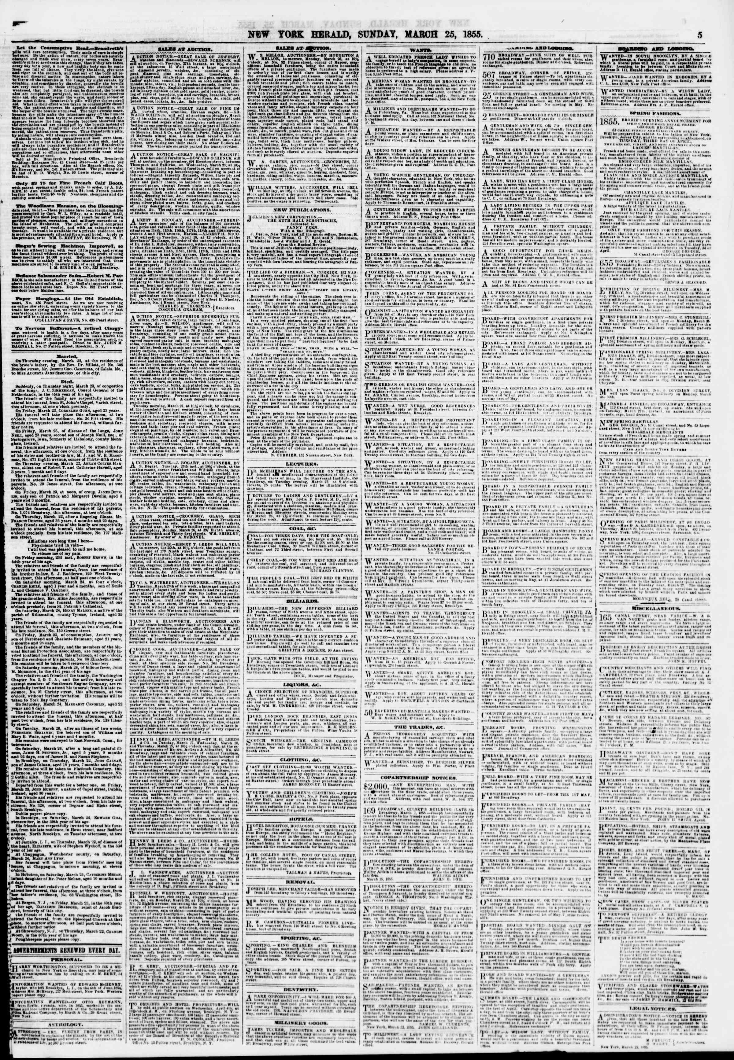 Newspaper of The New York Herald dated March 25, 1855 Page 5